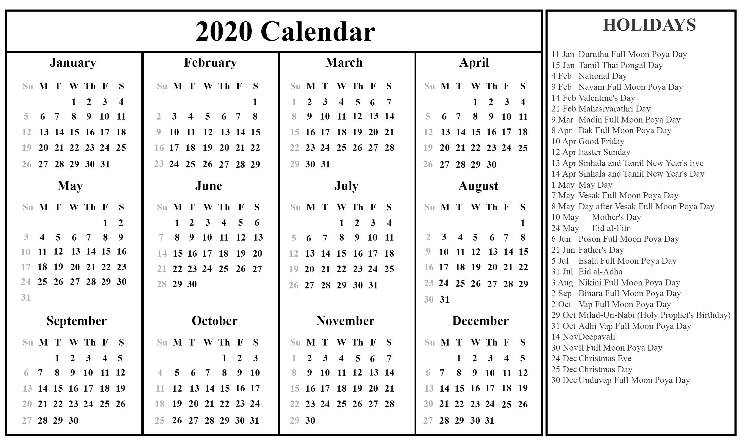 Sri Lanka Calendar 2020 Printable | Printable September throughout 2020 Calendar With Holidays