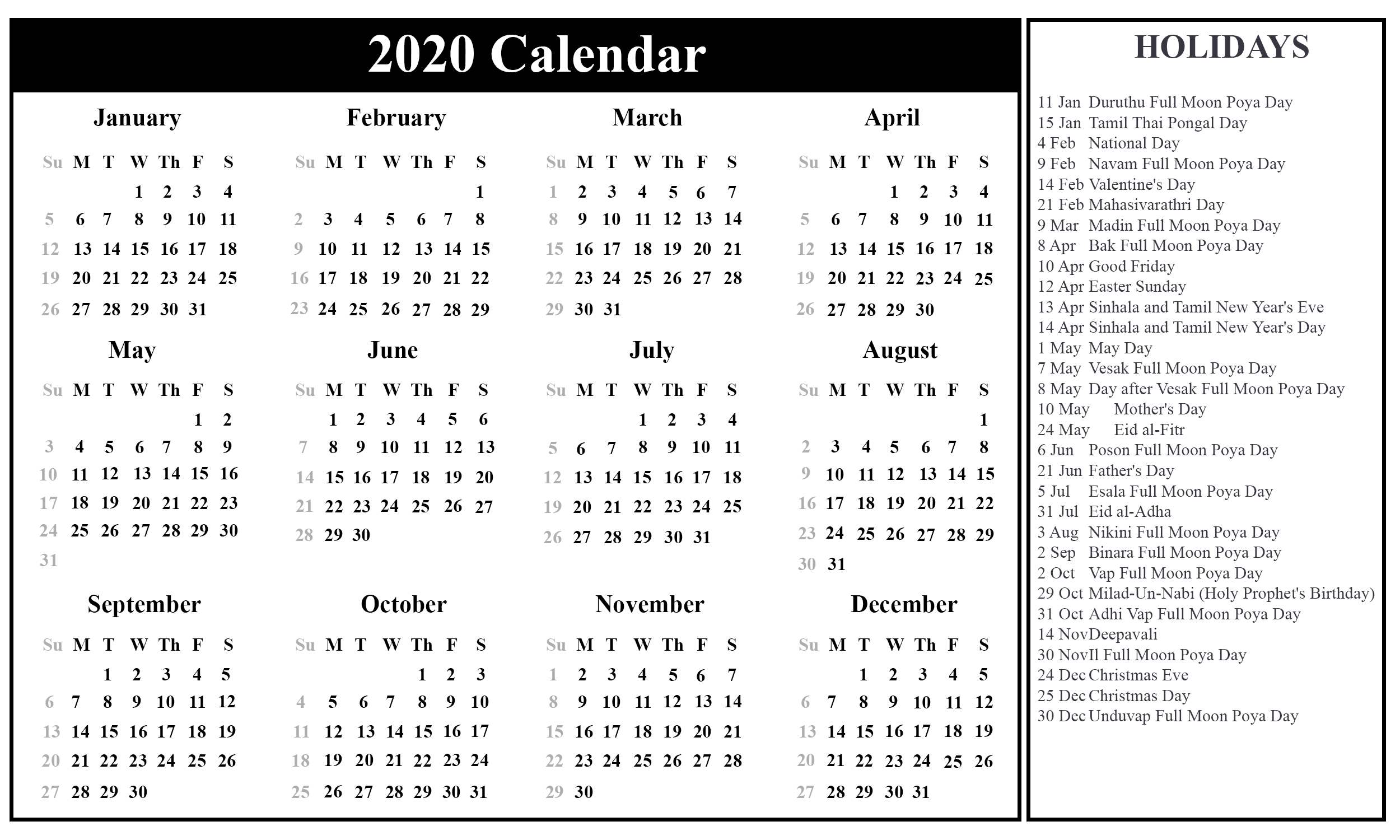 Srilanka-Holiday-2020-2 | Printable Template Calendar with regard to 2020 Sri Lanka Calendar