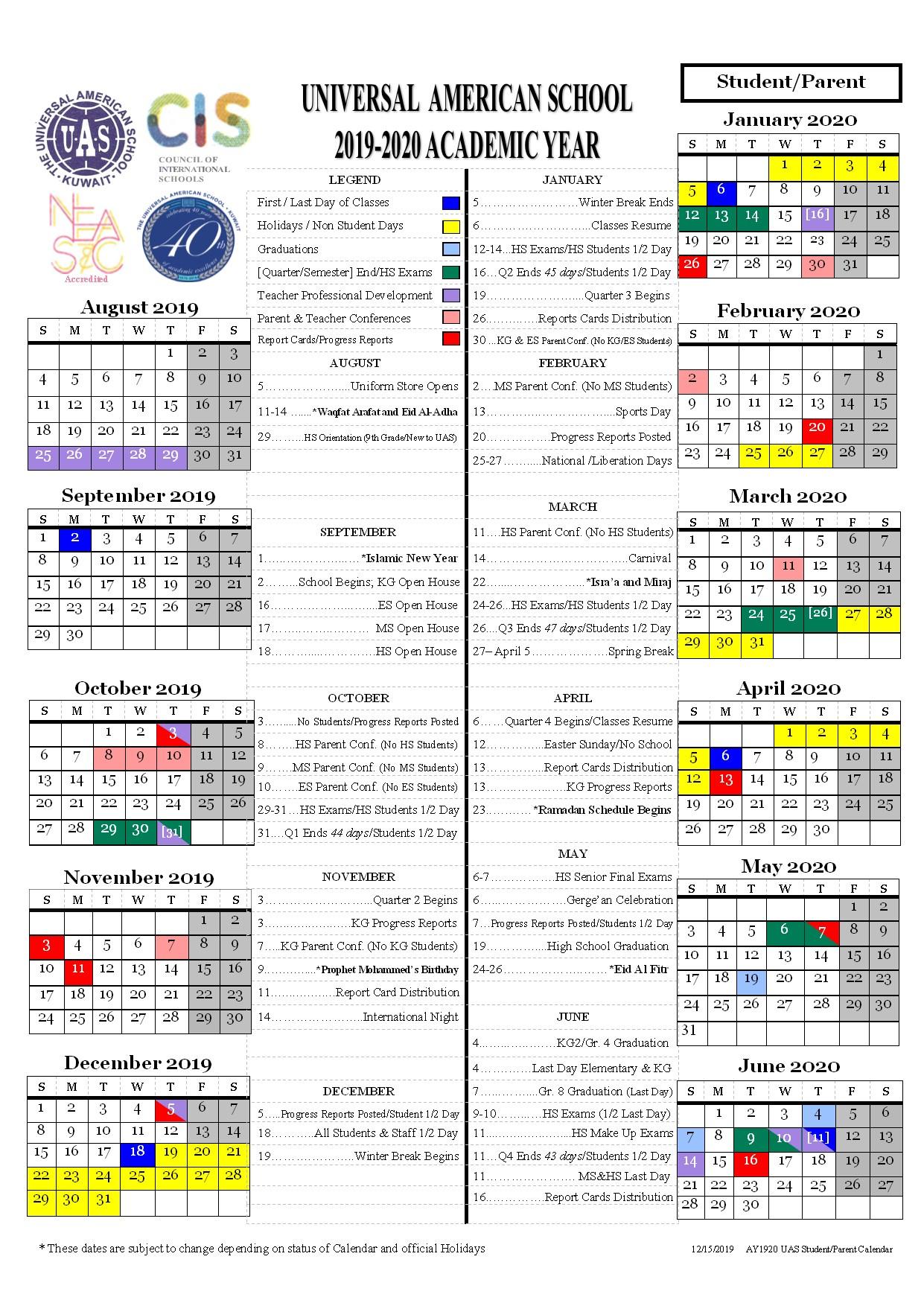 Students Calendar 2019-2020 - Universal American School within Kuwait 2020 Calendar