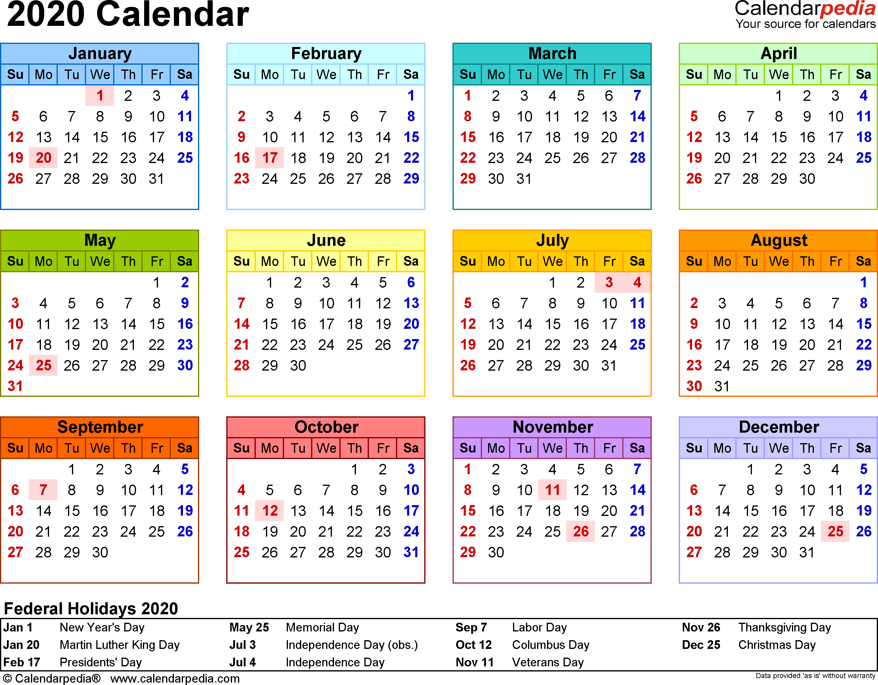 Template 8: 2020 Calendar For Word, Year At A Glance, 1 Page with regard to Calendar At A Glance With Usa Holidays For 2020