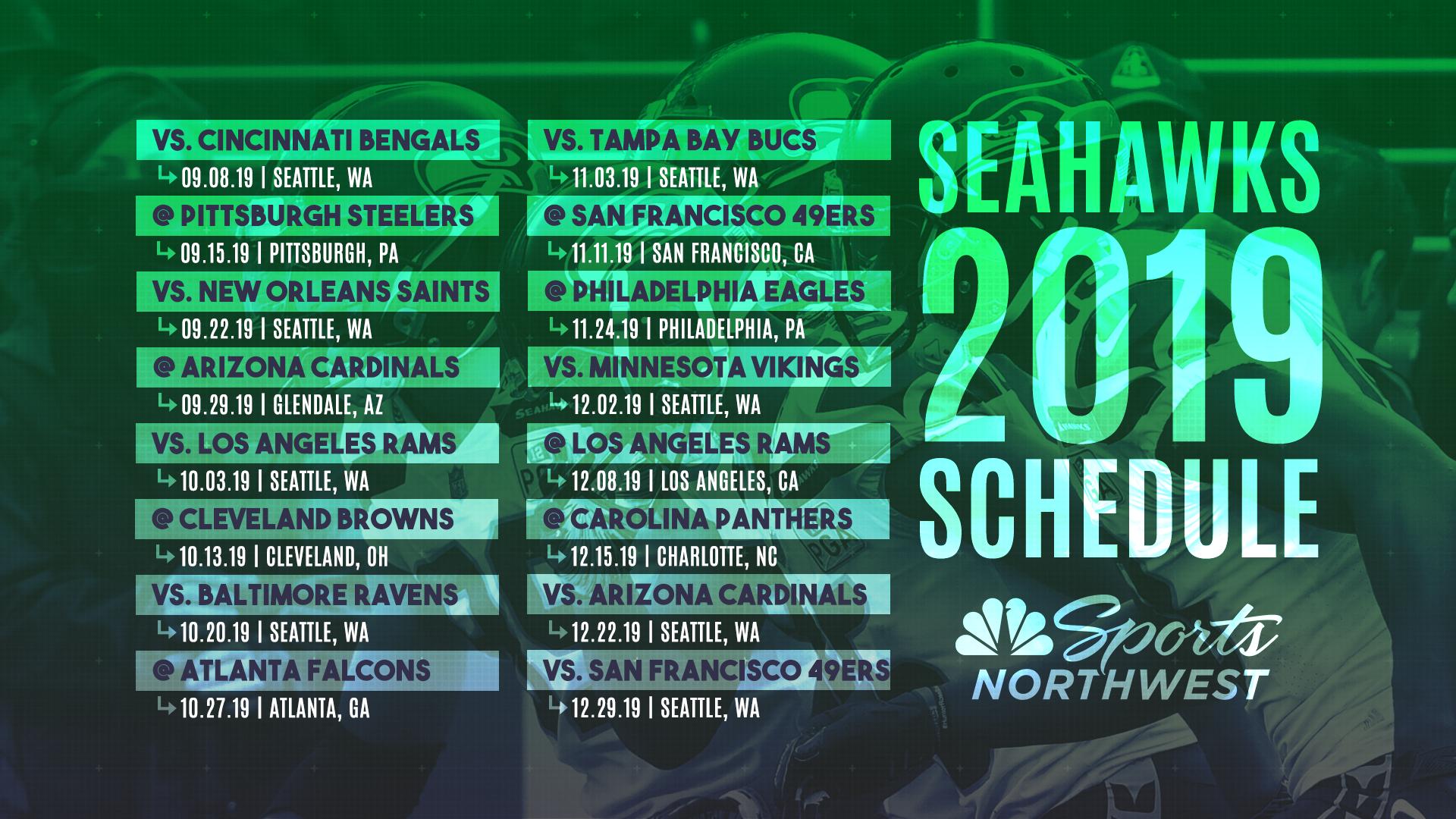 The 2019 Seattle Seahawks Regular Season Schedule Is Here in Free Printable Nfl Season Schedule 2020 2020