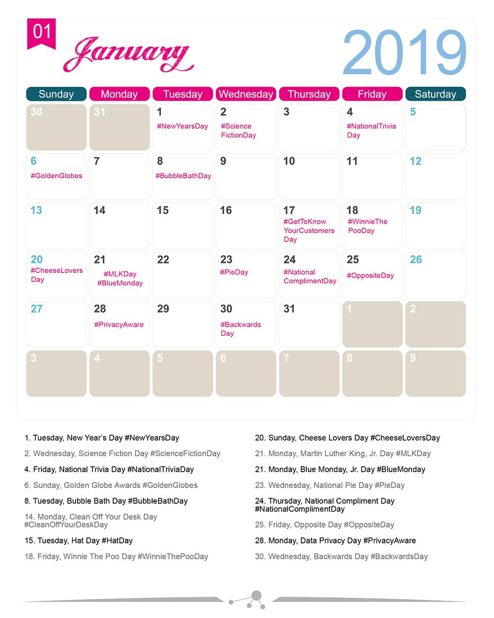 The 2019 Social Media Holiday Calendar - Make A Website Hub in National Food Day With Events Calender 2020 Free To Print Up