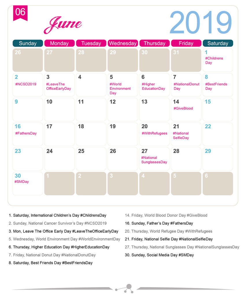 The 2019 Social Media Holiday Calendar - Make A Website Hub within National Food Day With Events Calender 2020 Free To Print Up