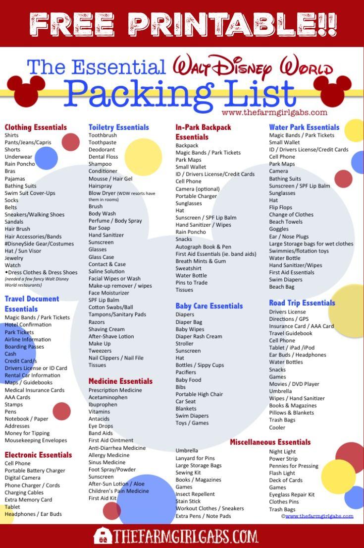 The Essential Walt Disney World Packing List | Disney World with Printable List Of Rides At Disney World 2020 Checklist