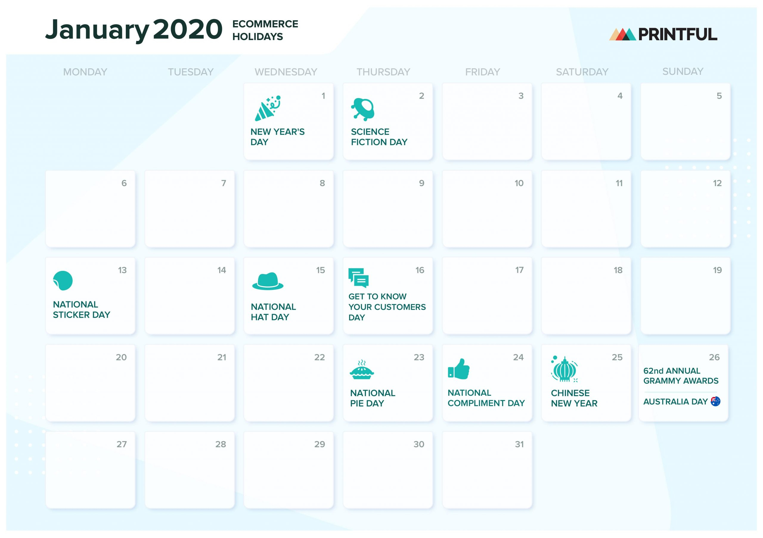 The Ultimate 2020 Ecommerce Holiday Marketing Calendar regarding National Food Day With Events Calender 2020 Free To Print Up