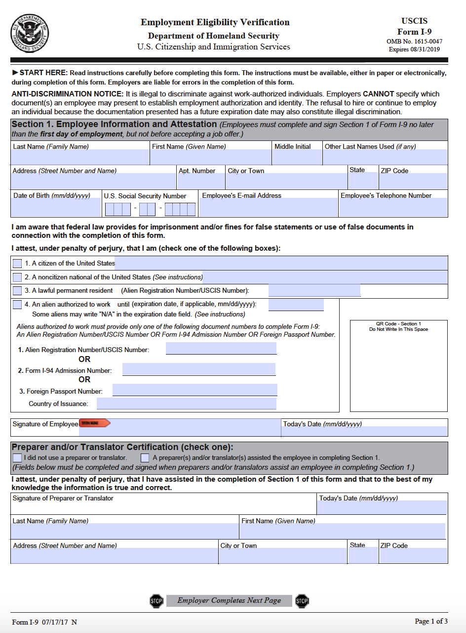Uscis Form I-9 – Employment Eligibility Verification pertaining to Free Printable I9 Forms 2020