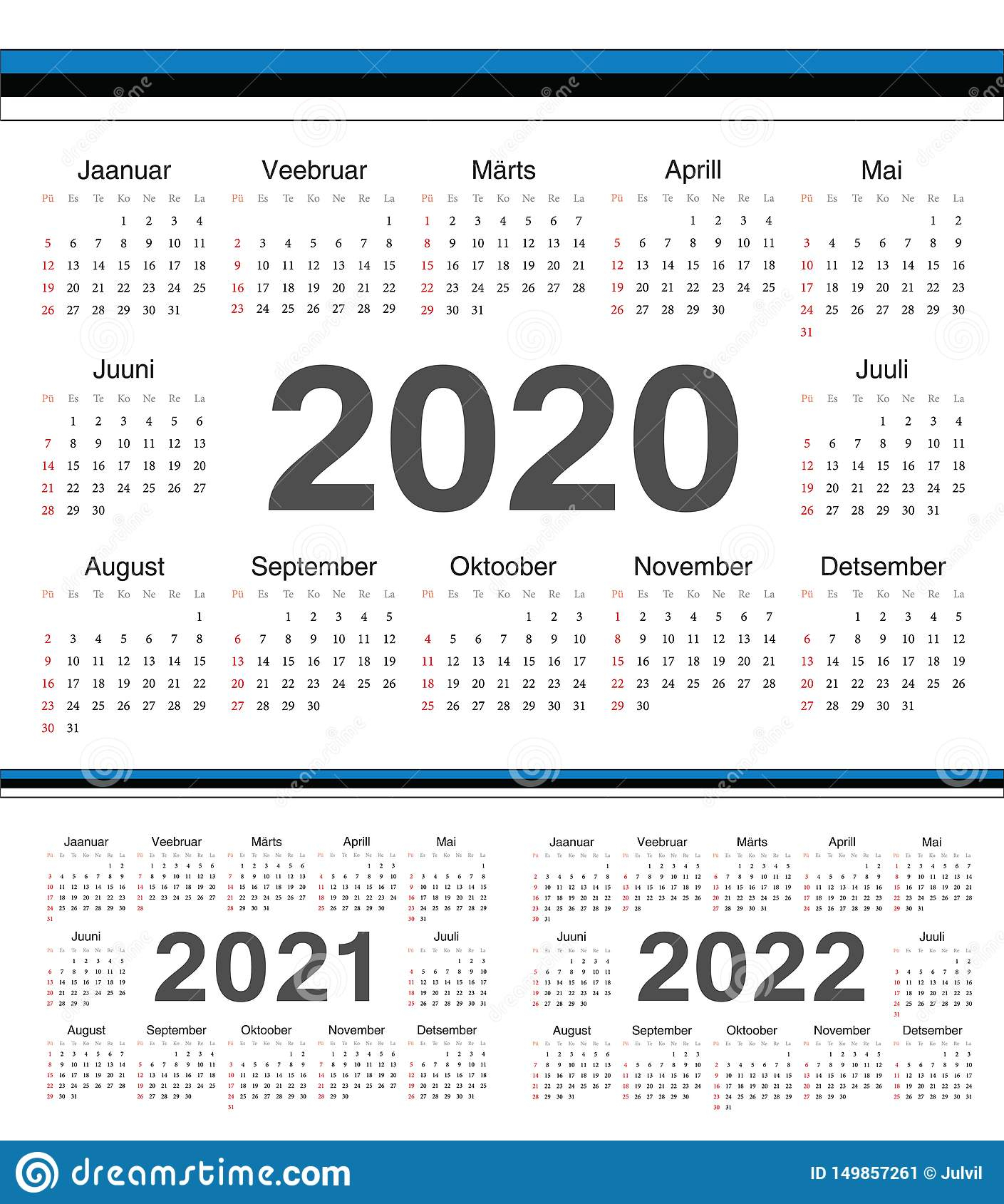 Vector Estonian Circle Calendars 2020, 2021, 2022 Stock intended for Kuwait 2020 Calendar