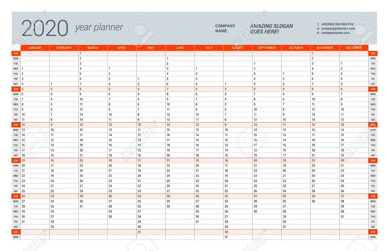 Wall Calendar Yearly Planner Template For 2020. Vector Design.. pertaining to Free Printable Yearly Planner 2020