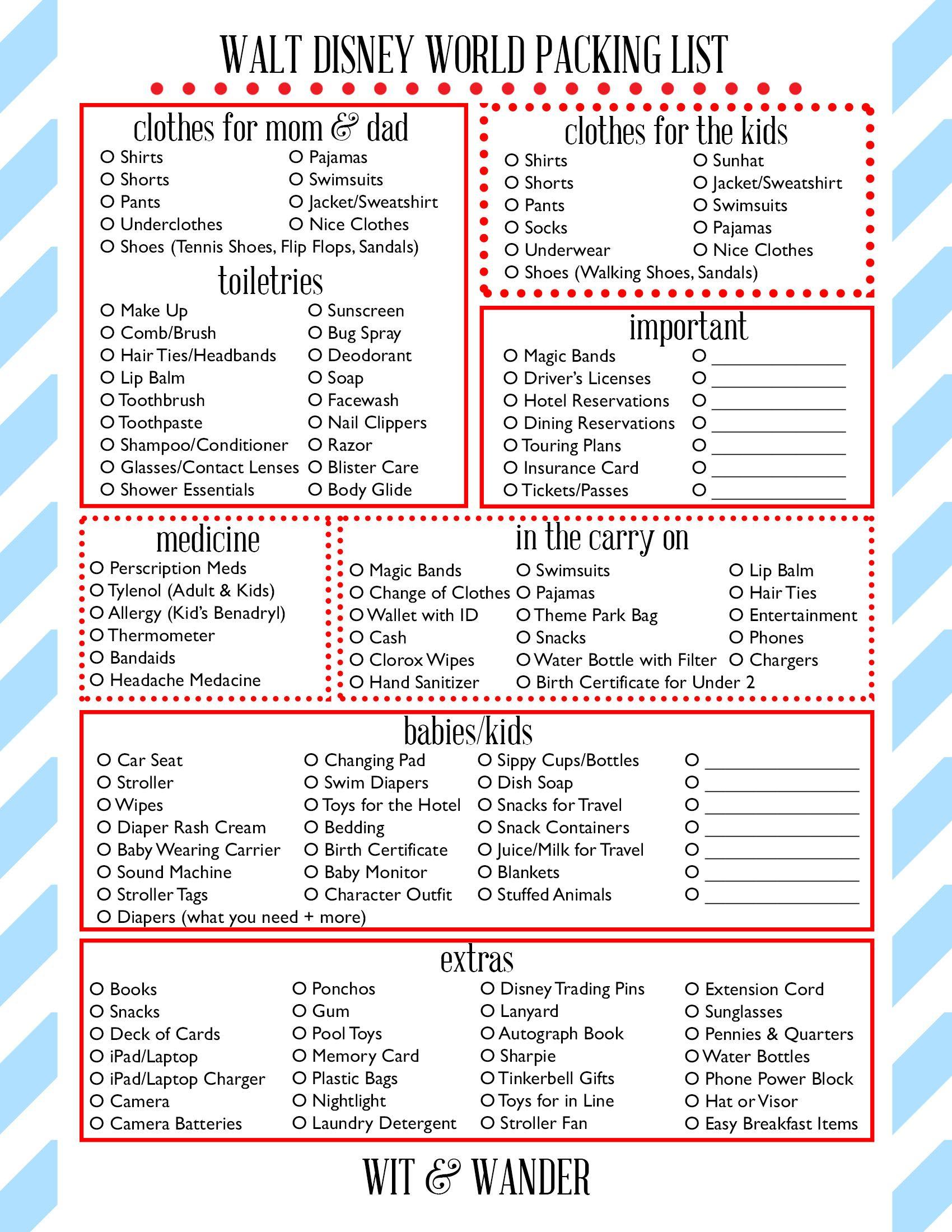 Walt Disney World Free Printables | Disney World Packing inside Printable List Of Rides At Disney World 2020 Checklist
