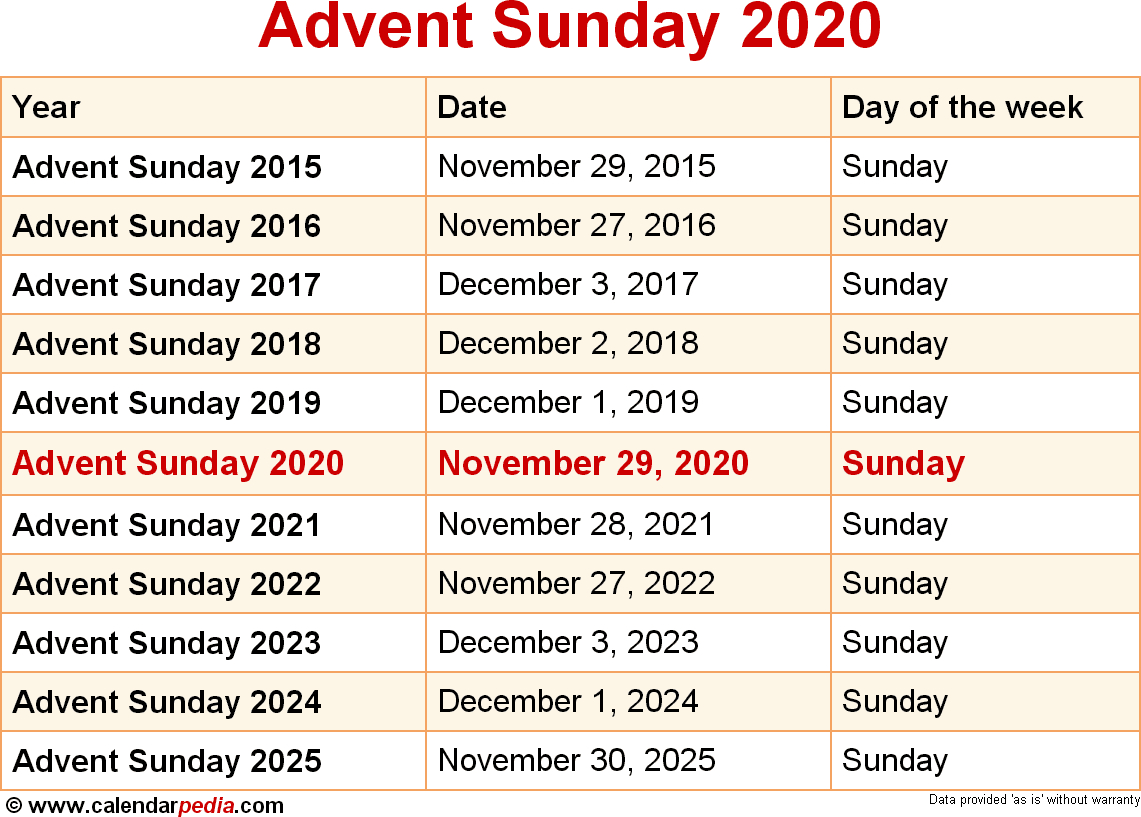 When Is Advent Sunday 2020 & 2021? Dates Of Advent Sunday within 2020 Catholic Liturgical Calendar Activities