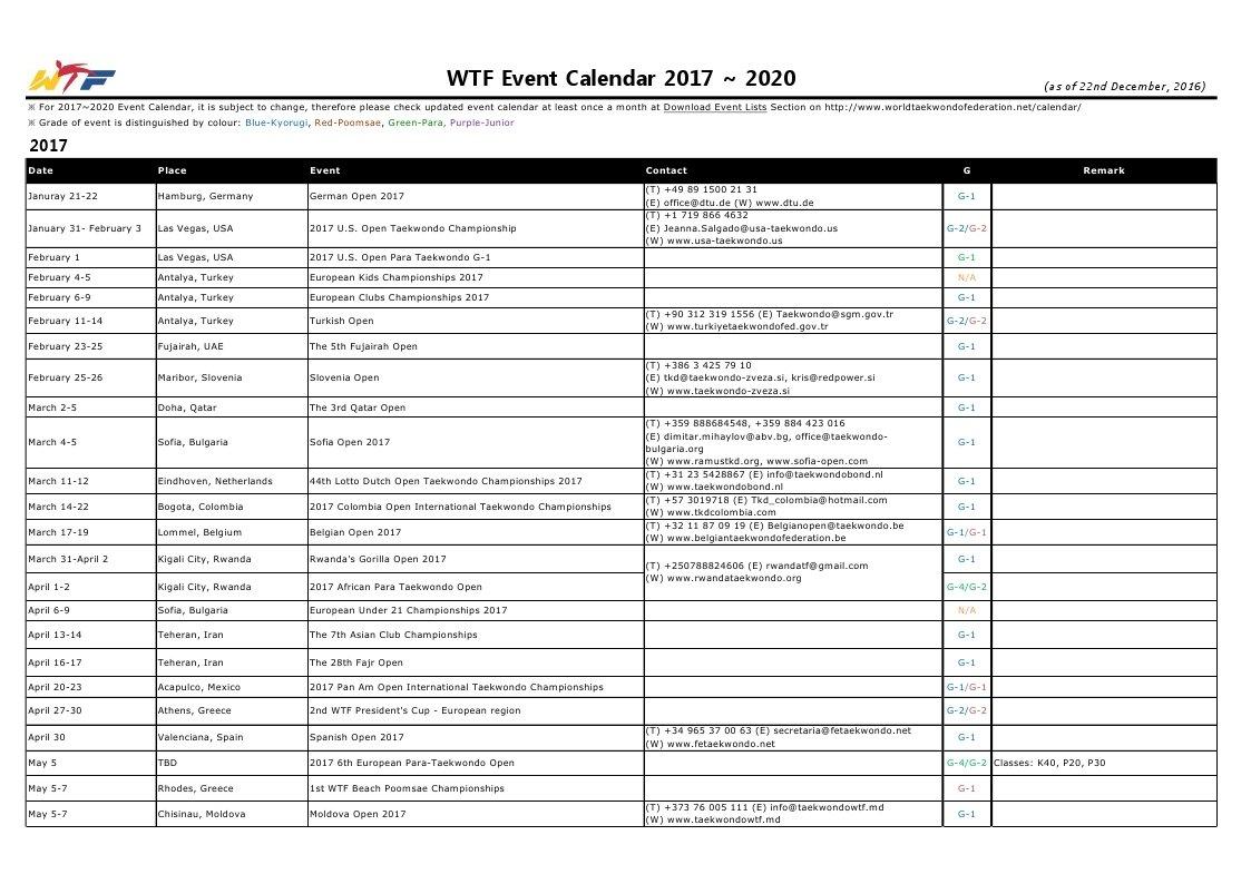 """World Taekwondo On Twitter: """"check The Event Calendar For within Calendar 2020 Nl"""