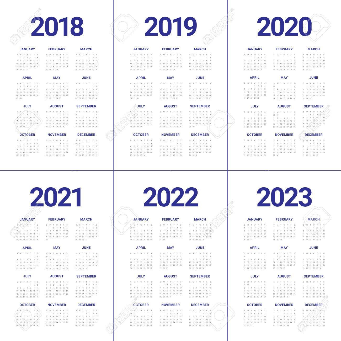 Year 2018 2019 2020 2021 2022 2023 Calendar Vector Design Template,.. with regard to Free Printable Calendar 2020-2022