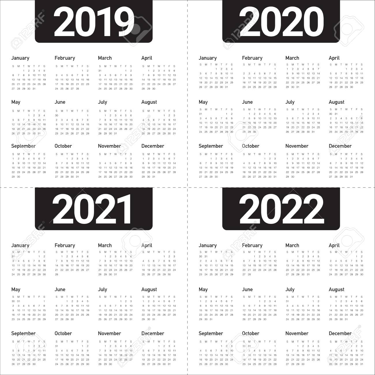 Year 2019 2020 2021 2022 Calendar Vector Design Template, Simple.. in Three Year Calendar 2020 2021 2022