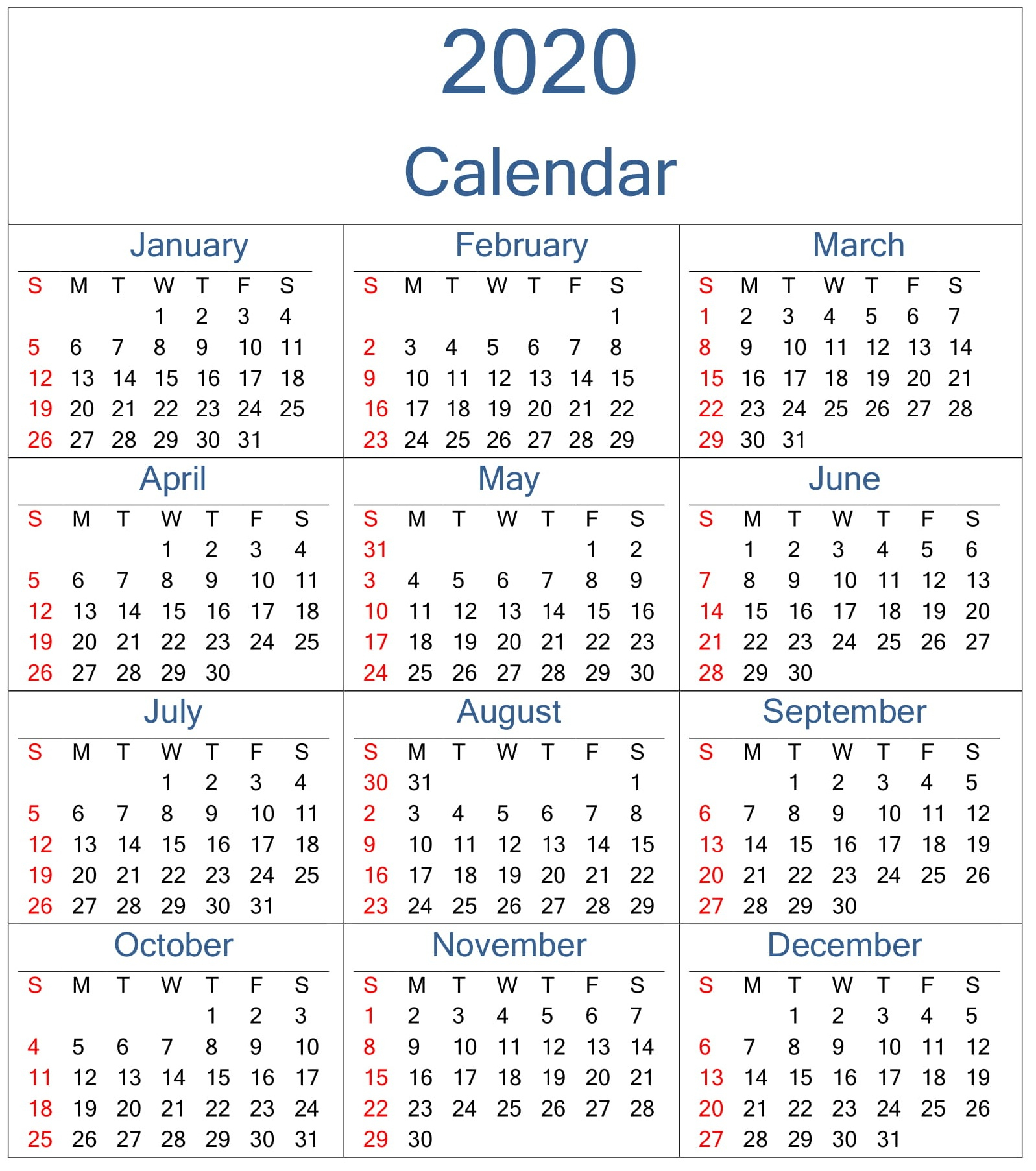 Yearly 2020 Calendar Excel Template - Latest Printable with regard to 2020 Calendar By Month And Week Number Excel