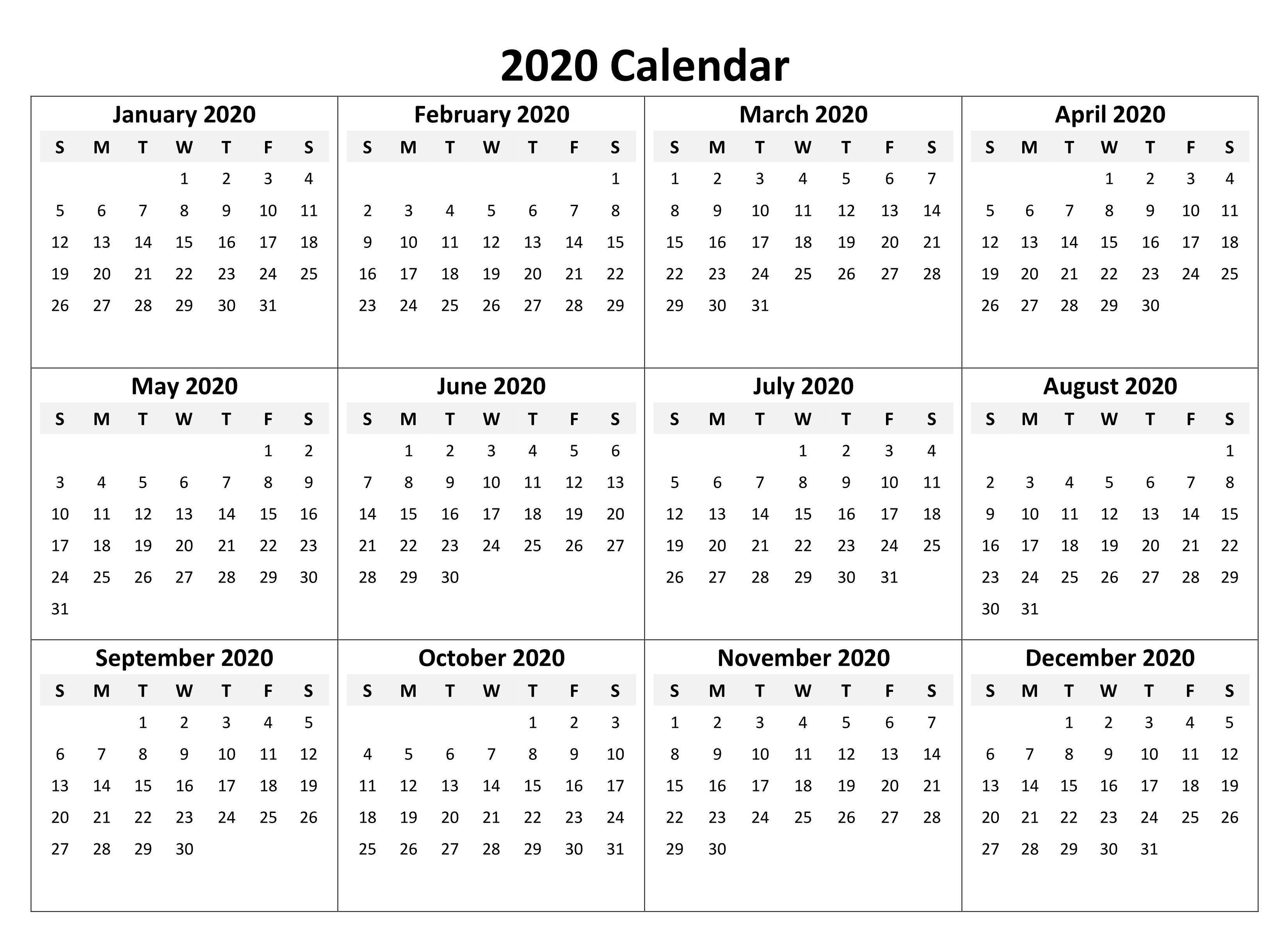 Yearly Calendar 2020 Free Download | Printable Calendar in Yearly Printable Calendar 2020