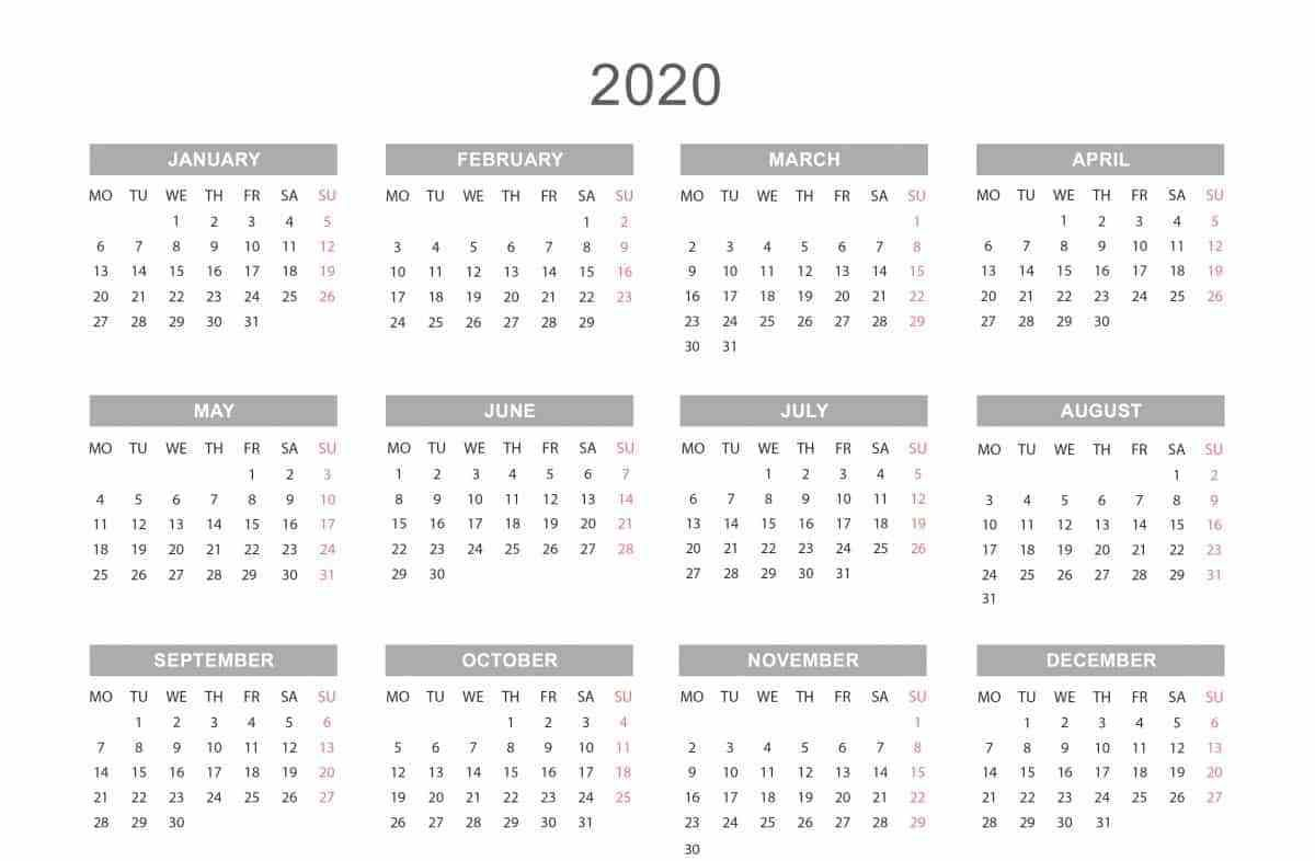 Yearly Calendar 2020 | Weekly Calendar Template, Printable intended for Yearly Printable Calendar 2020