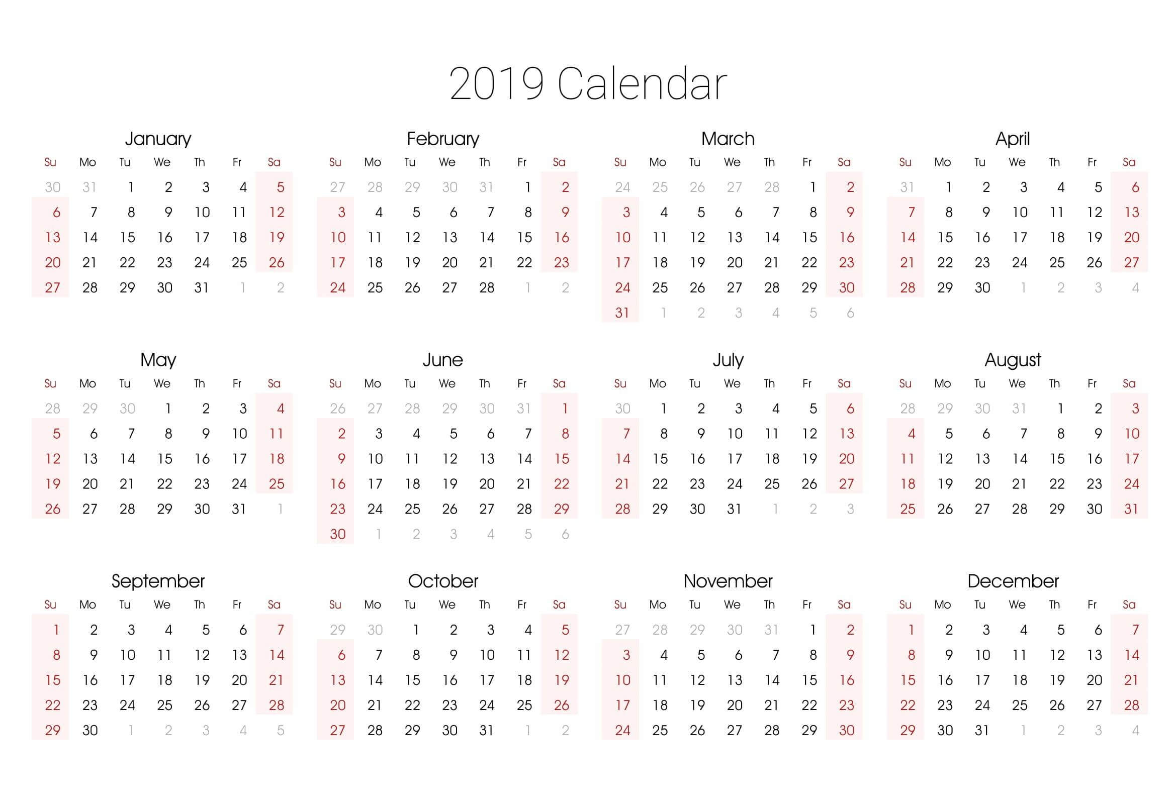Yearly Calendar Template With Notes 2020 - 2019 Calendars intended for Calendar At A Glance With Usa Holidays For 2020