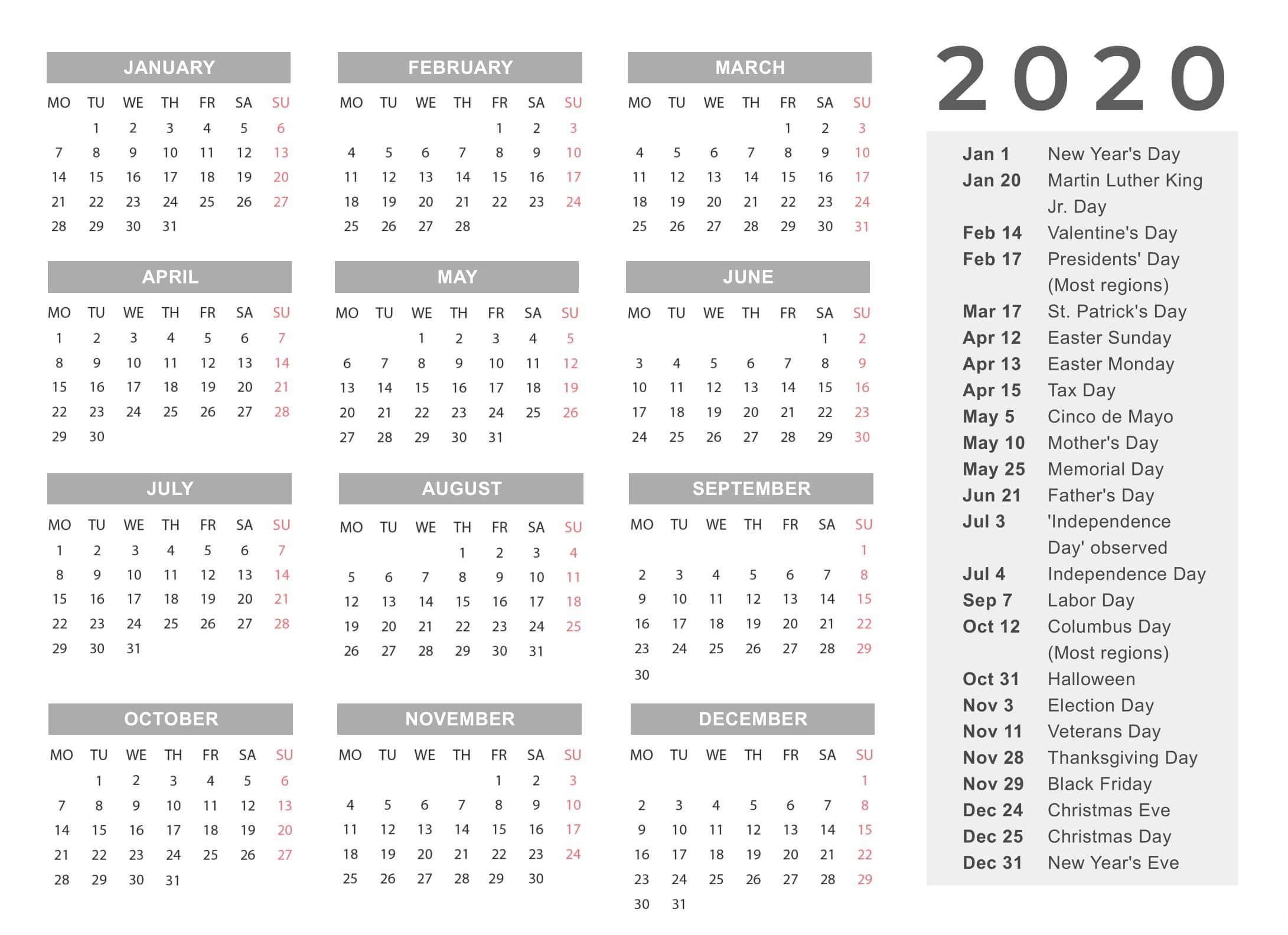 Yearly Calendar Template With Notes 2020 - 2019 Calendars pertaining to 2020 Yearly Calendar With Holidays Printable
