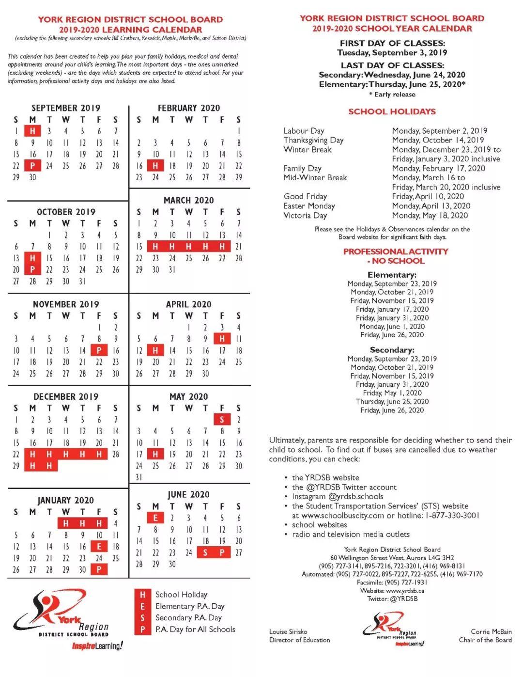 Yrdsb 2019-2020学年中小学时间安排 throughout Yrdsb Calendar 2020