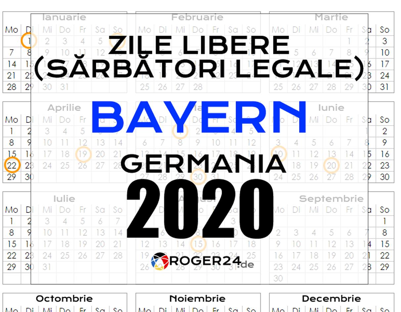 Zile Libere (Sărbători Legale) În Bayern (Bavaria), Gemania pertaining to Calendar 2020 Zile Libere