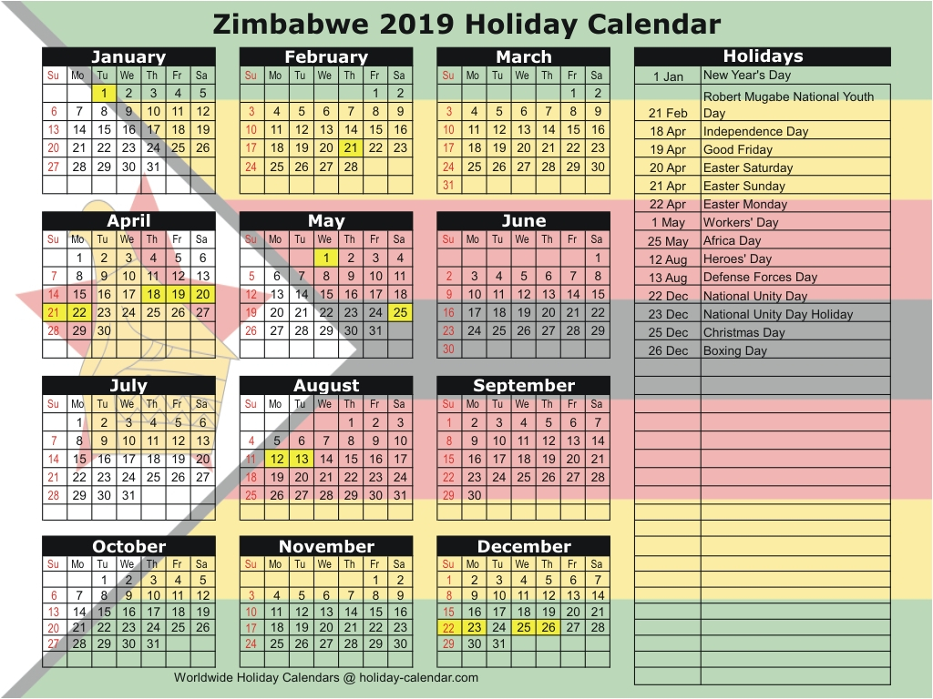 Zimbabwe 2019 / 2020 Holiday Calendar within Calander 2020 We Does The School Close
