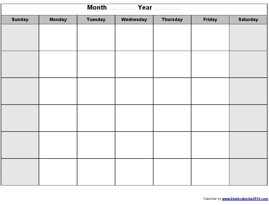 16 Blank Month Calendar Template Images - Blank Monthly within Blank Monthly Calendar Template To Fill In