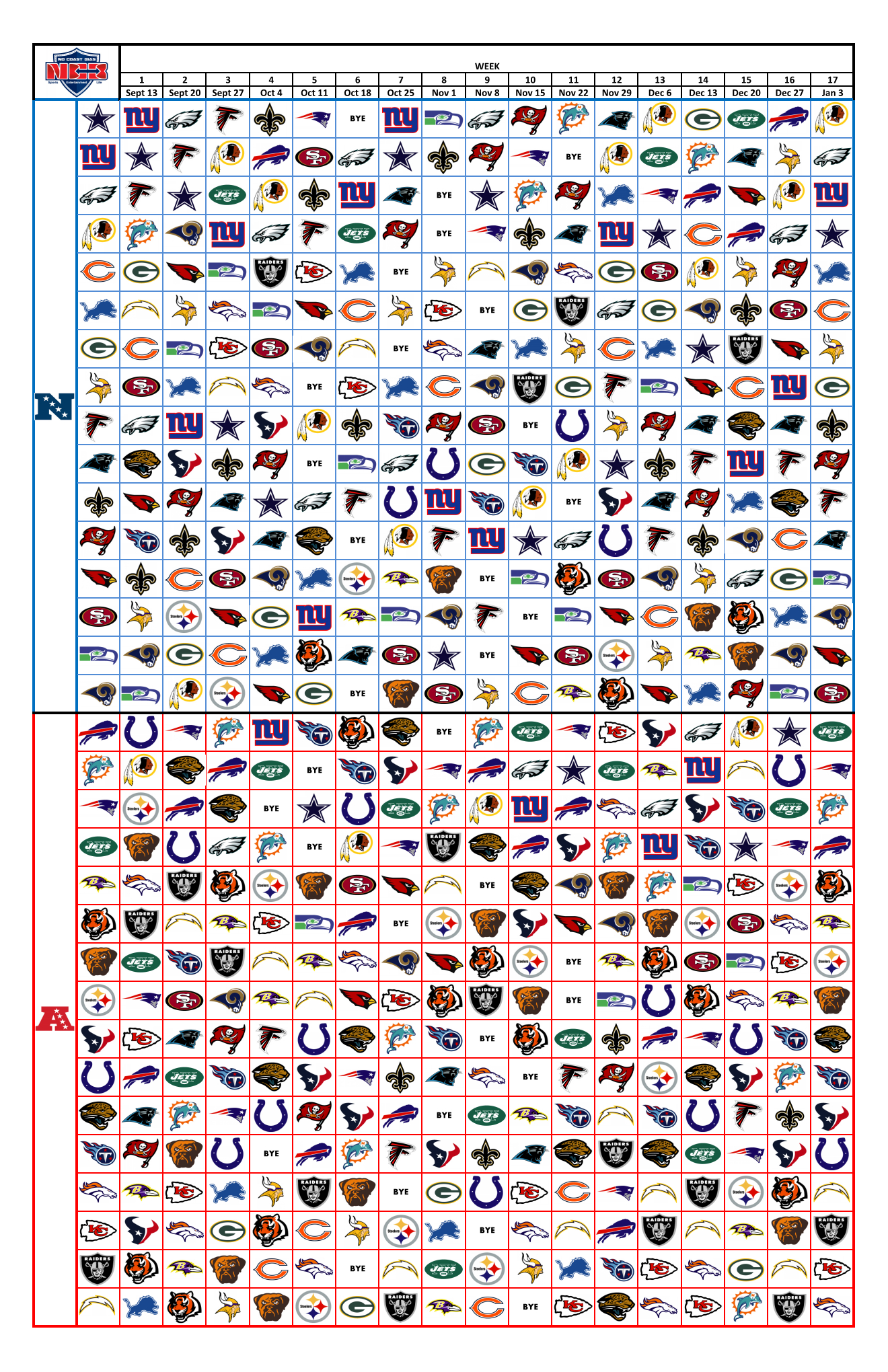 2015 Nfl Graphic Schedule (Printable) – No Coast Bias with 1 Page Printable Nfl Schedule