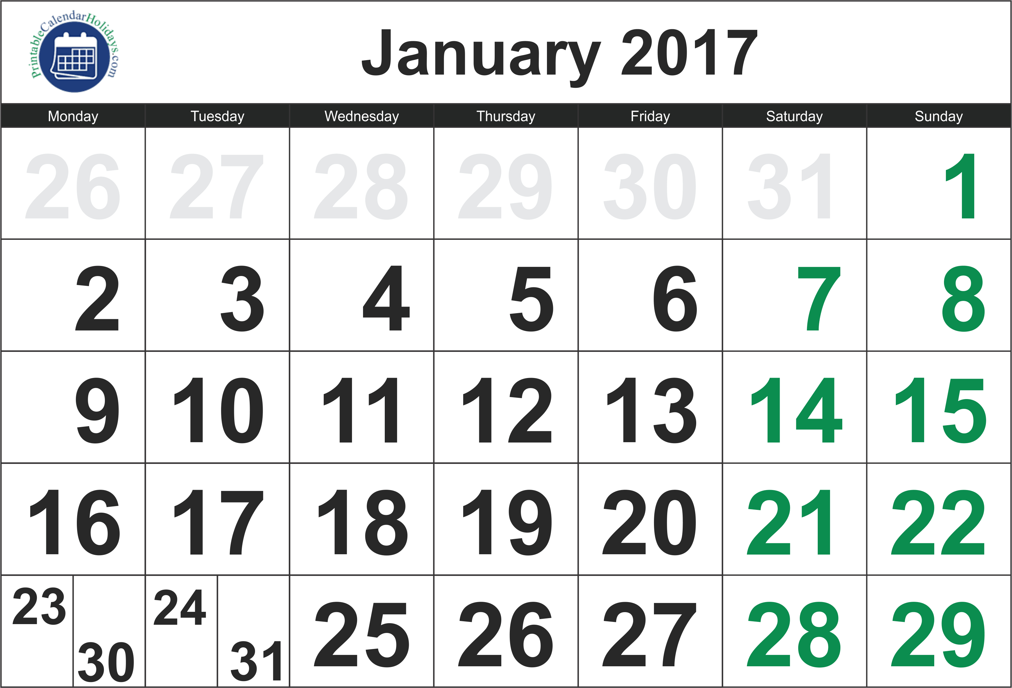 2017 January Calendar - Printable Calendar Template 2020 2021 intended for Free Large Number Printable Calendars