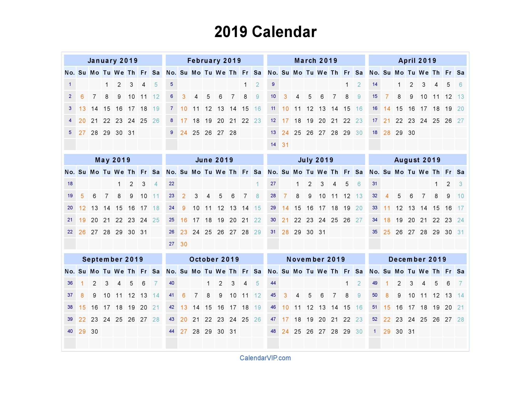2019 Calendar - Blank Printable Calendar Template In Pdf pertaining to Yearly Week Number Calendar Excel