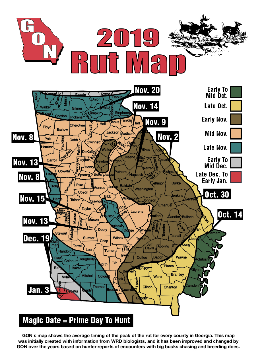 2019 Georgia Rut Map with regard to Peak Rut Predictions For 2020