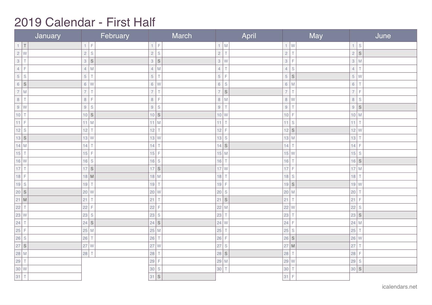 2019 Printable Calendar - Pdf Or Excel - Icalendars inside Yearly Week Number Calendar Excel