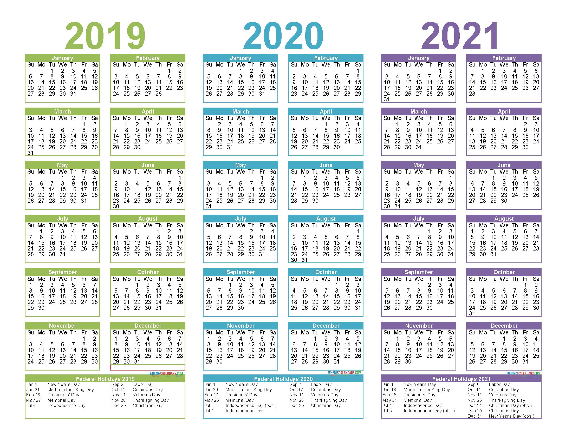 2019 To 2021 3 Year Calendar Printable Free Pdf, Word, Image in 3 Year Calendar 2020