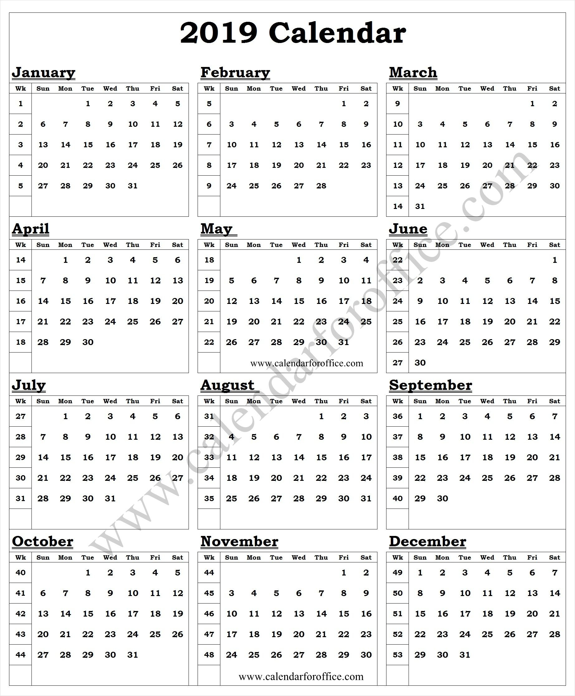 2019 Year Calendar With Week Numbers | Calendar With Week with Yearly Week Number Calendar Excel