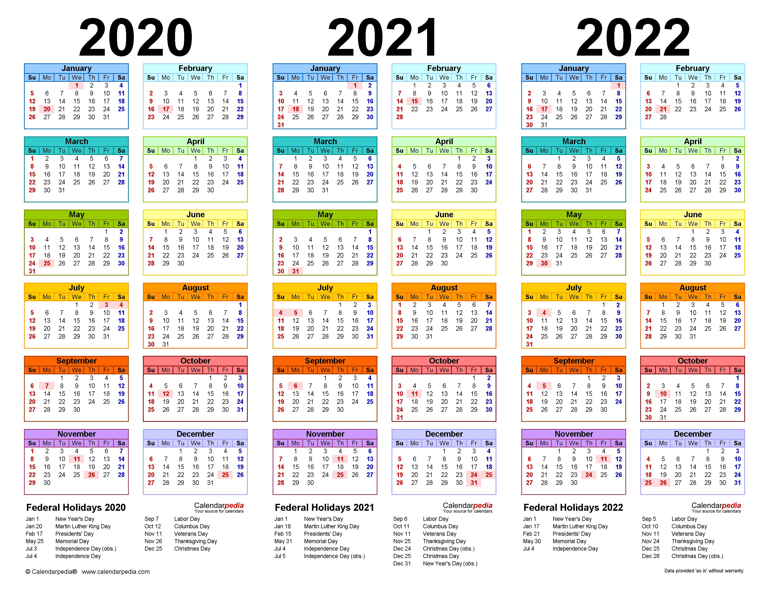 2020-2022 Three Year Calendar - Free Printable Pdf Templates in 3 Year Calendar 2020