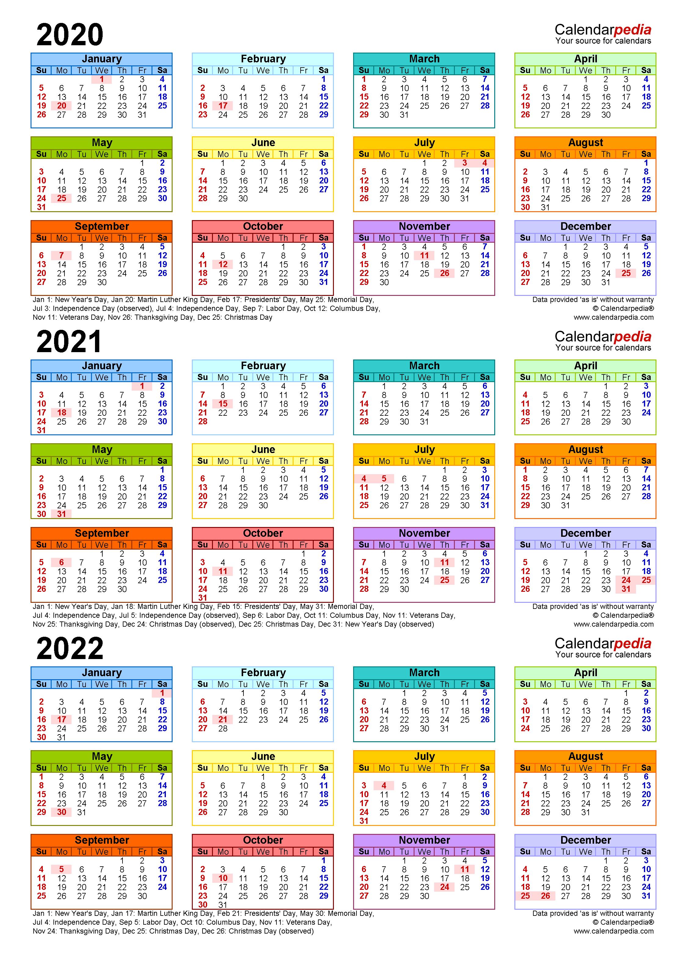 2020-2022 Three Year Calendar - Free Printable Pdf Templates pertaining to 3 Year Calendar 2020 To 2023