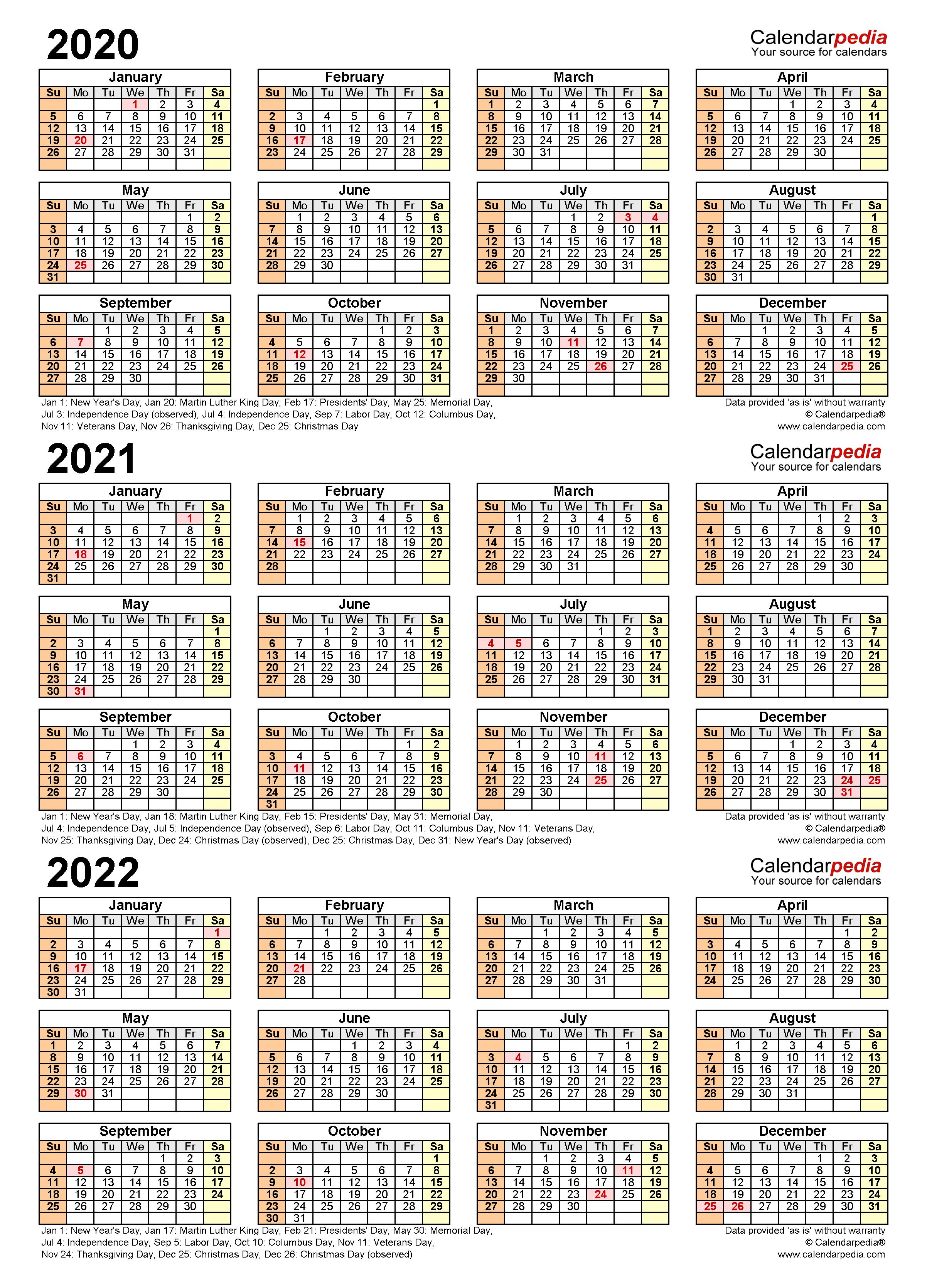 2020-2022 Three Year Calendar - Free Printable Pdf Templates regarding Three Year Printable Calendar 2020 To 2023