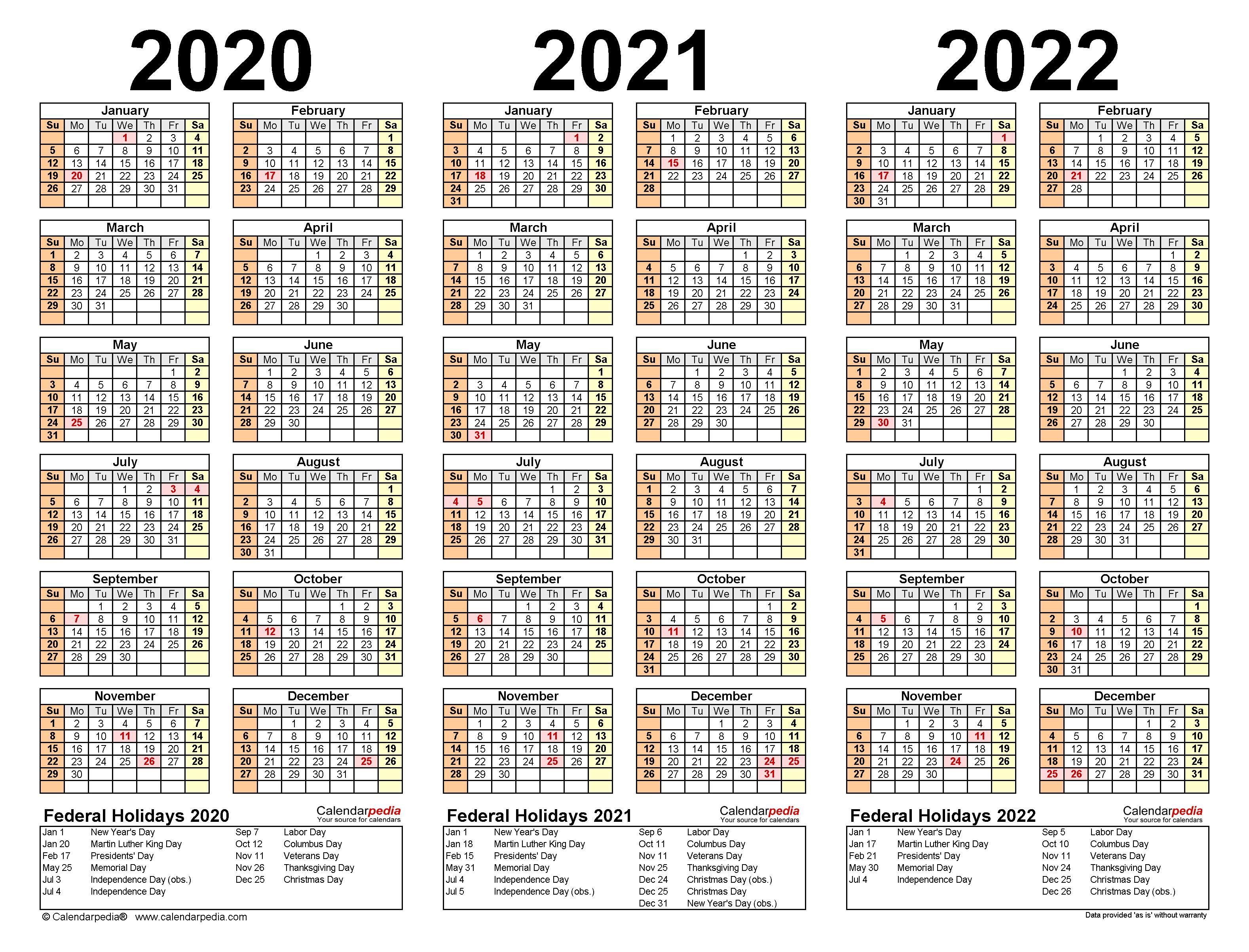 2020-2022 Three Year Calendar - Free Printable Pdf Templates with regard to 3 Year Calendar 2020