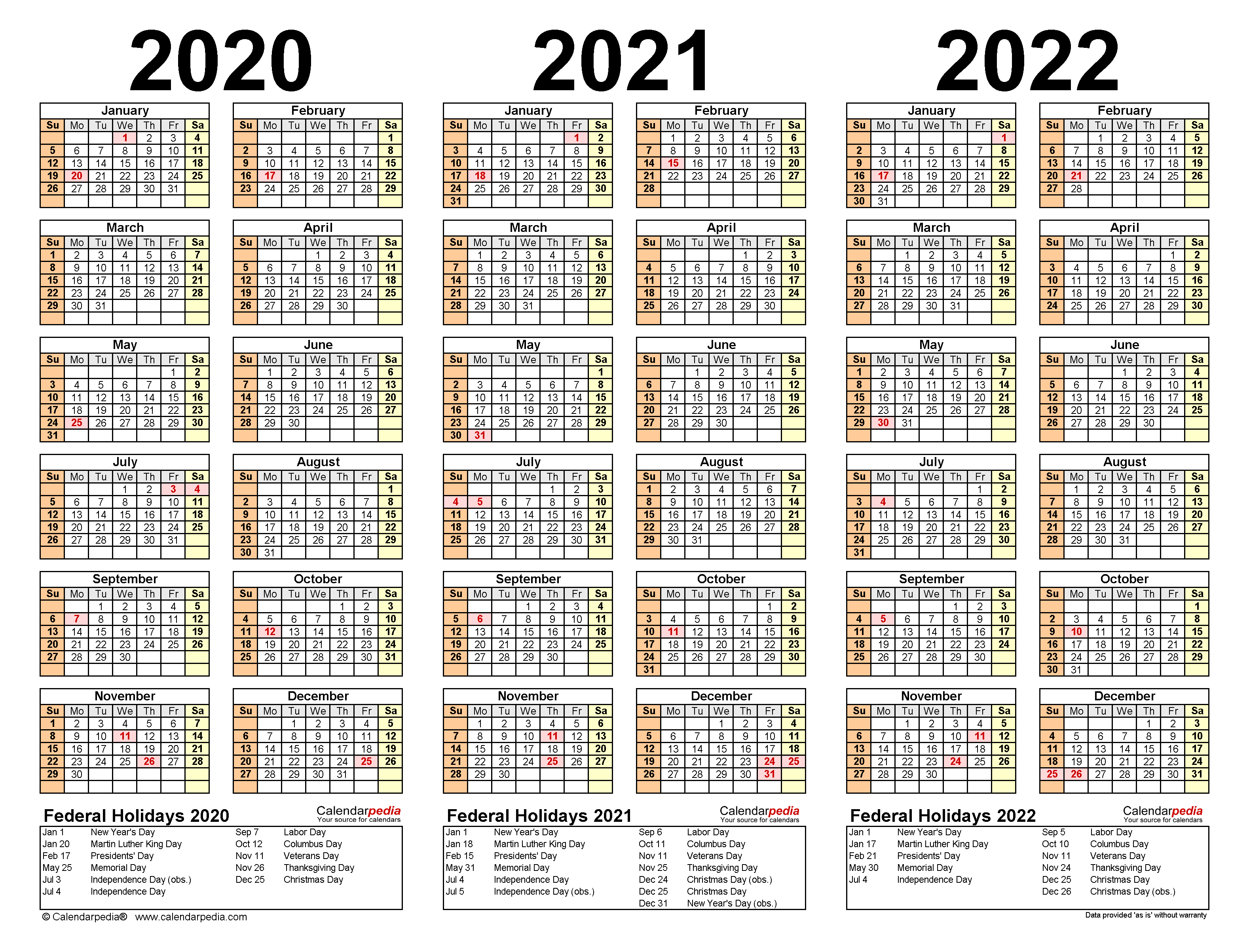 3 Year Calendar 2020 To 2023 | Calendar Template Printable ...