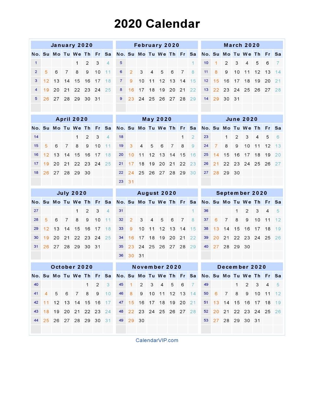 2020 Calendar - Blank Printable Calendar Template In Pdf pertaining to Yearly Week Number Calendar Excel