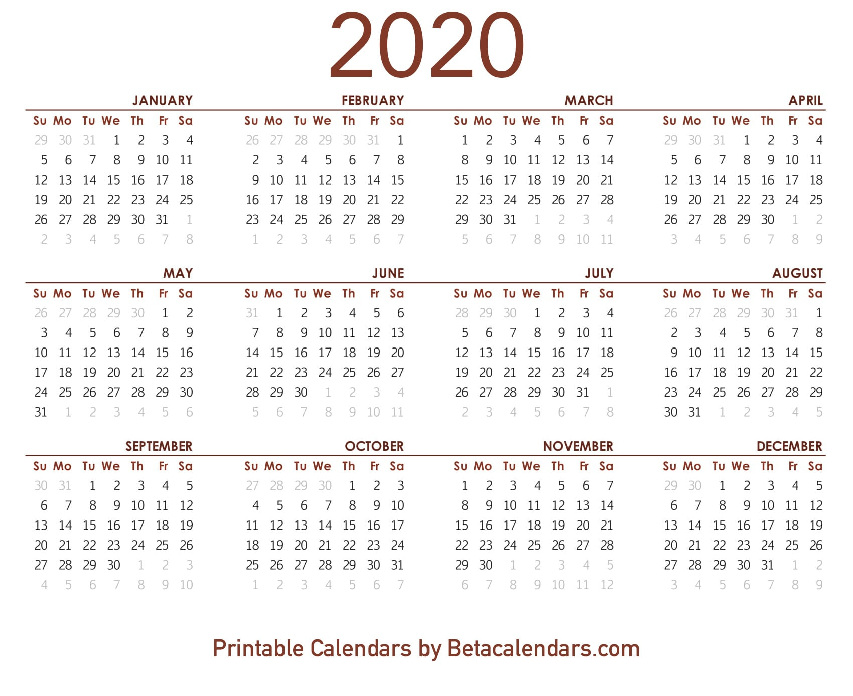 2020 Calendar - Free Printable Yearly Calendar 2020 throughout Sunday To Saturday Calendar 2020 Printable