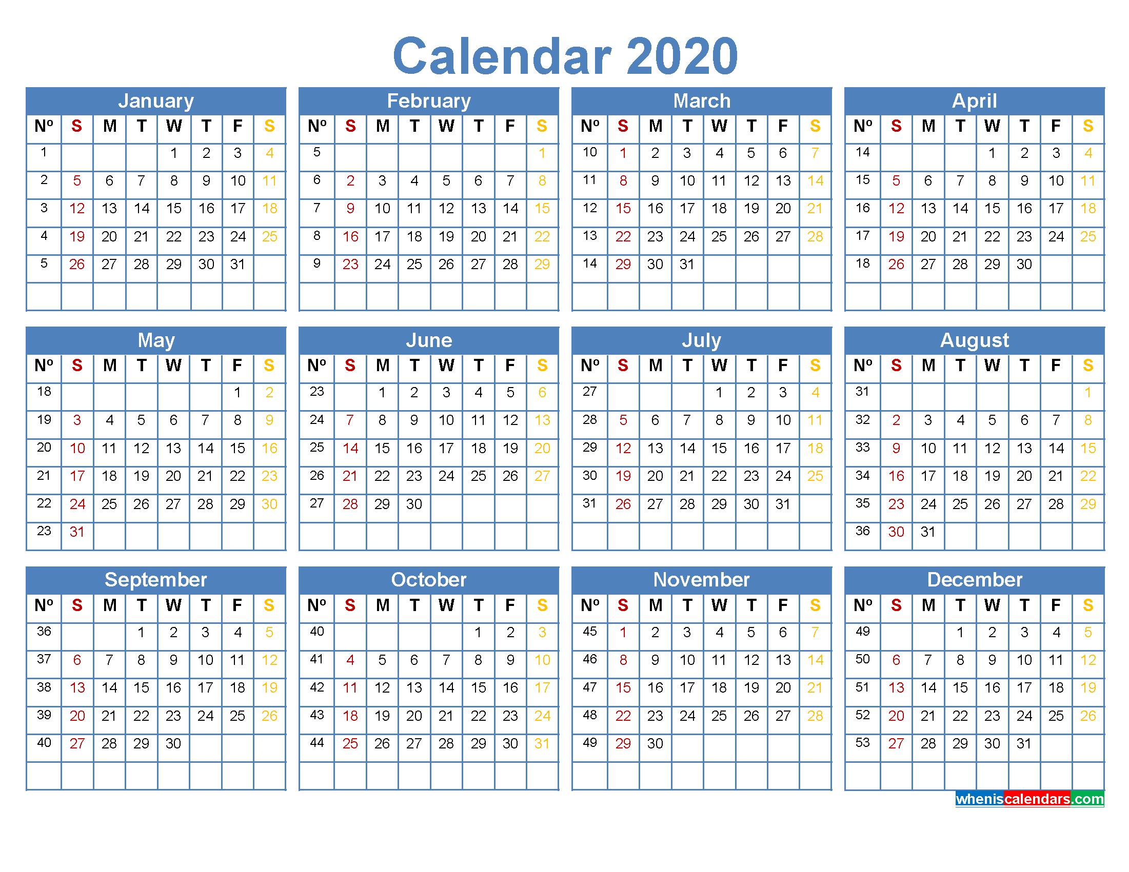 2020 Calendar With Week Numbers Printable Word, Pdf – Free with Yearly Week Number Calendar Excel