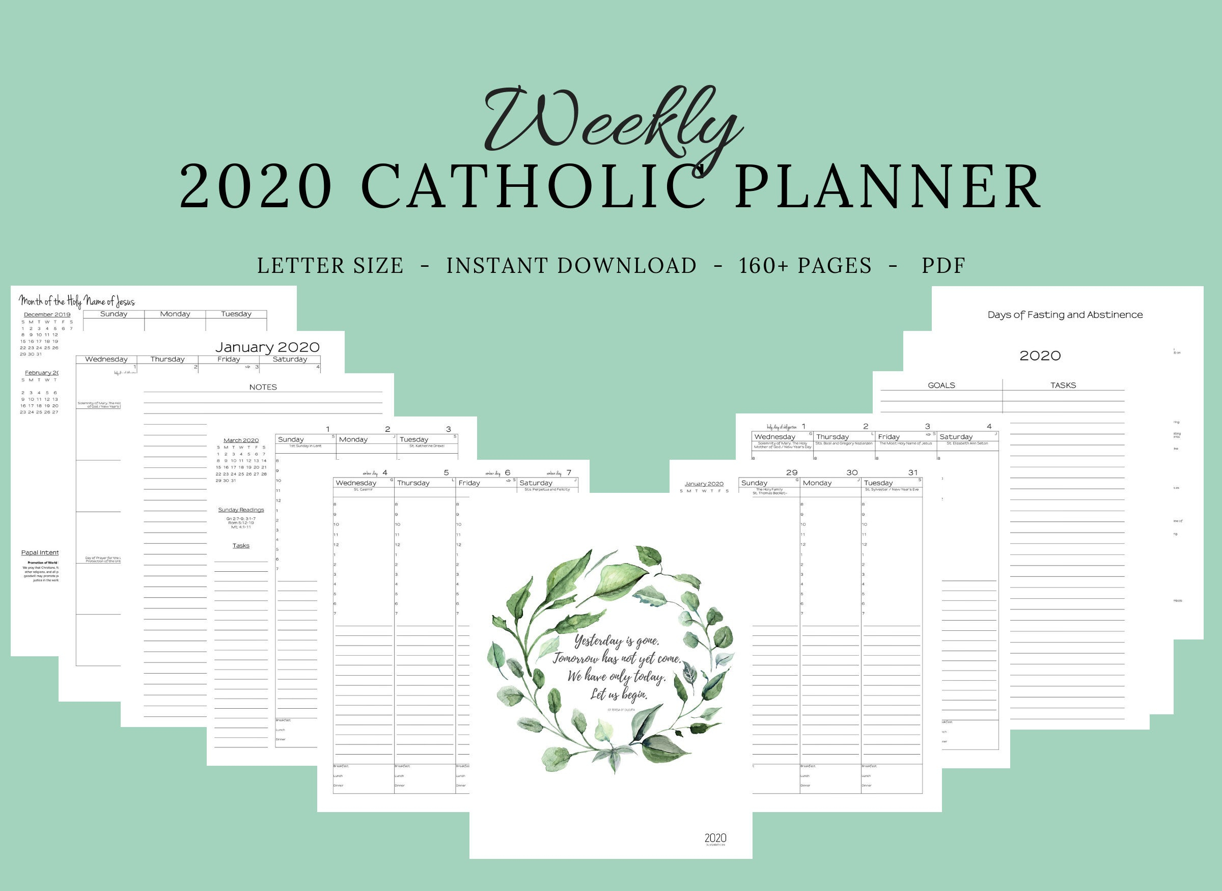 2020 Catholic Planner Weekly Printable: Daily Planner / Weekly Calendar /  Catholic Liturgical Year Calendar / Printable Catholic Planner in Printable Monthly Liiturgical Calendar 2020