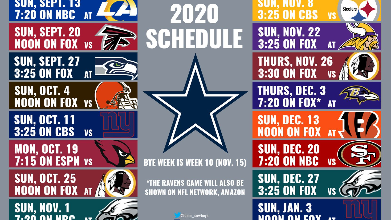2020 Cowboys Schedule: Dates And Times Announced For Dallas for Printable Nfl Schedule For 2020 2021