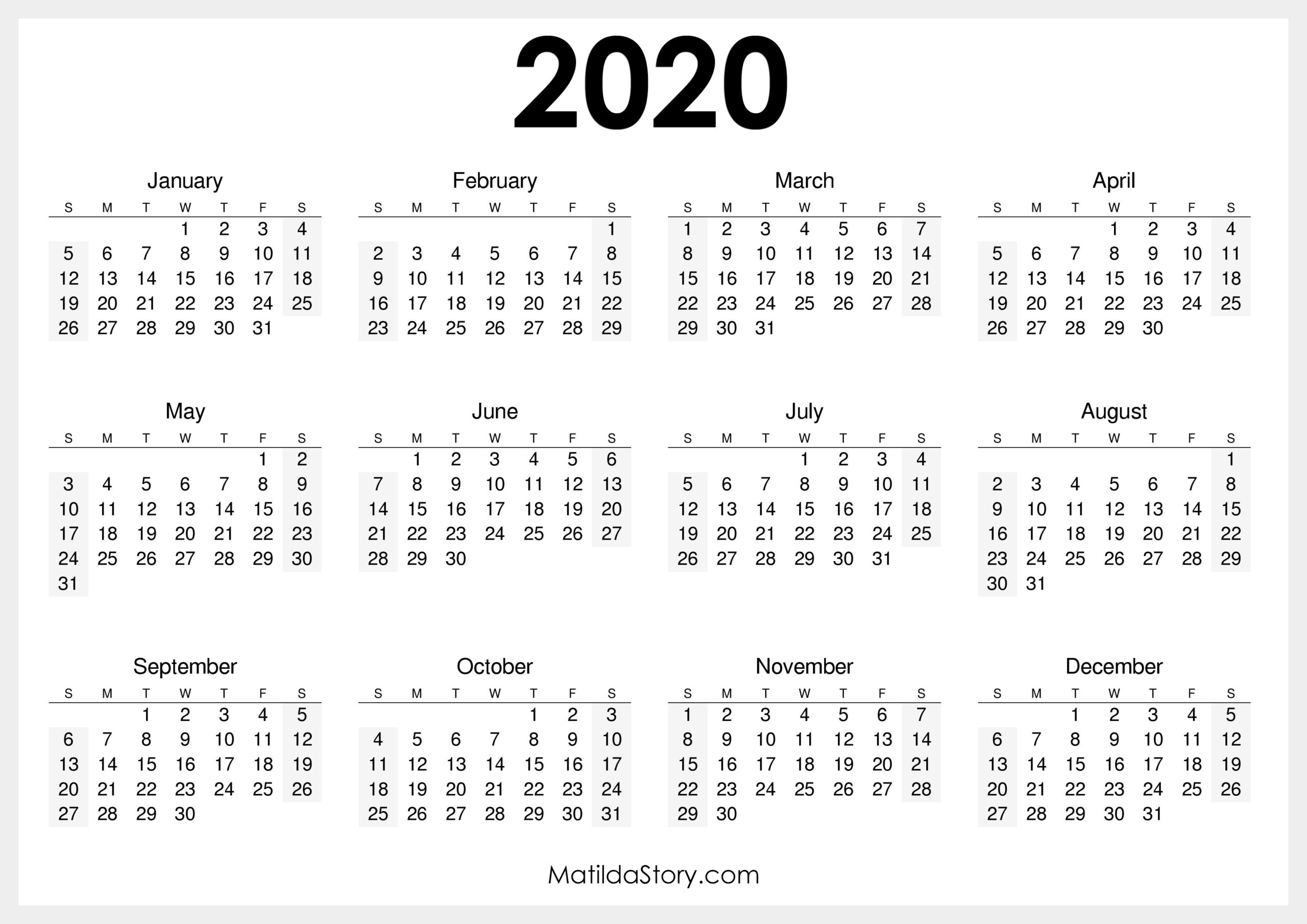 2020 Printable Free Calendar, Horizontal, White – Sunday with Sunday To Saturday Calendar 2020 Printable