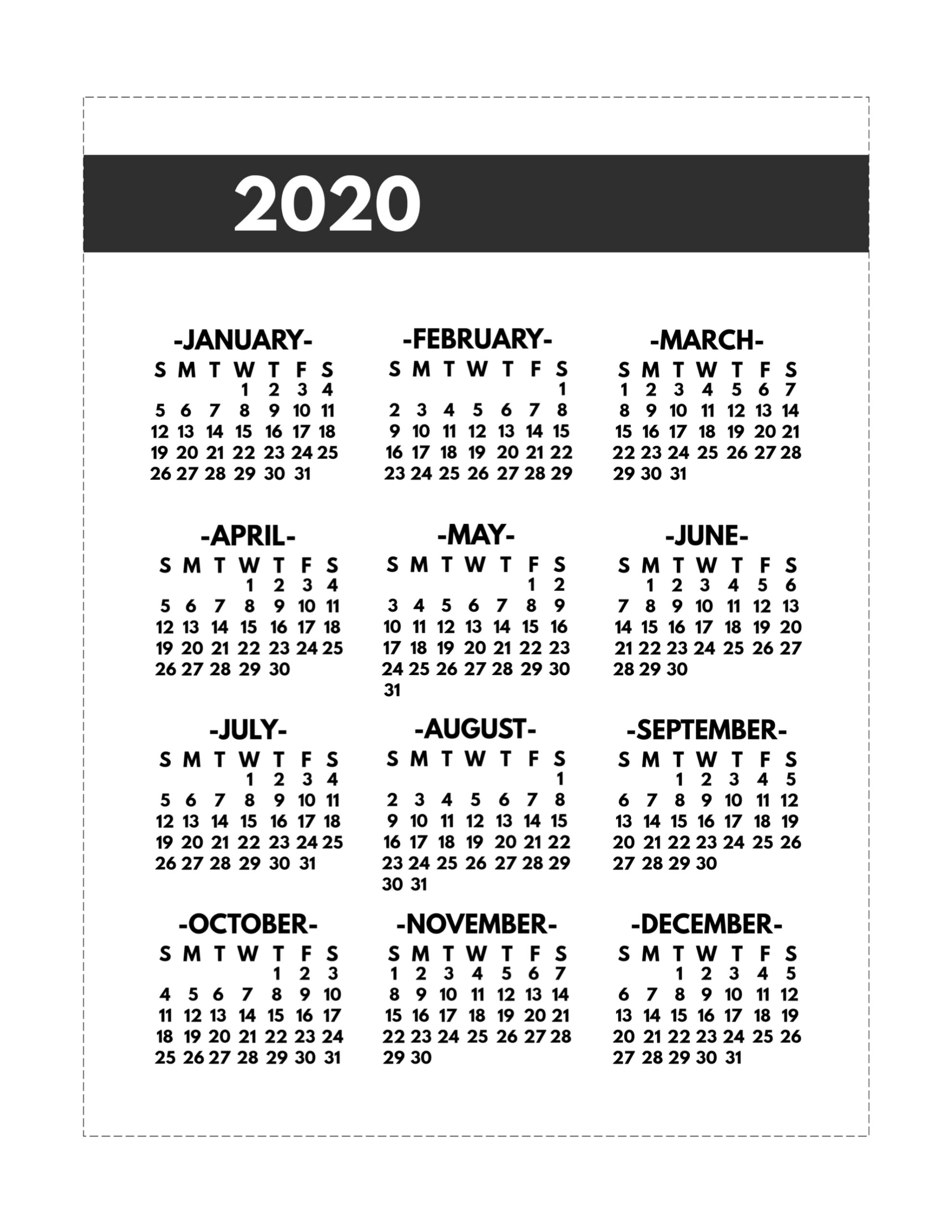 2020 Printable One Page Year At A Glance Calendar | Paper for 8.5 X 11 Calendar Print