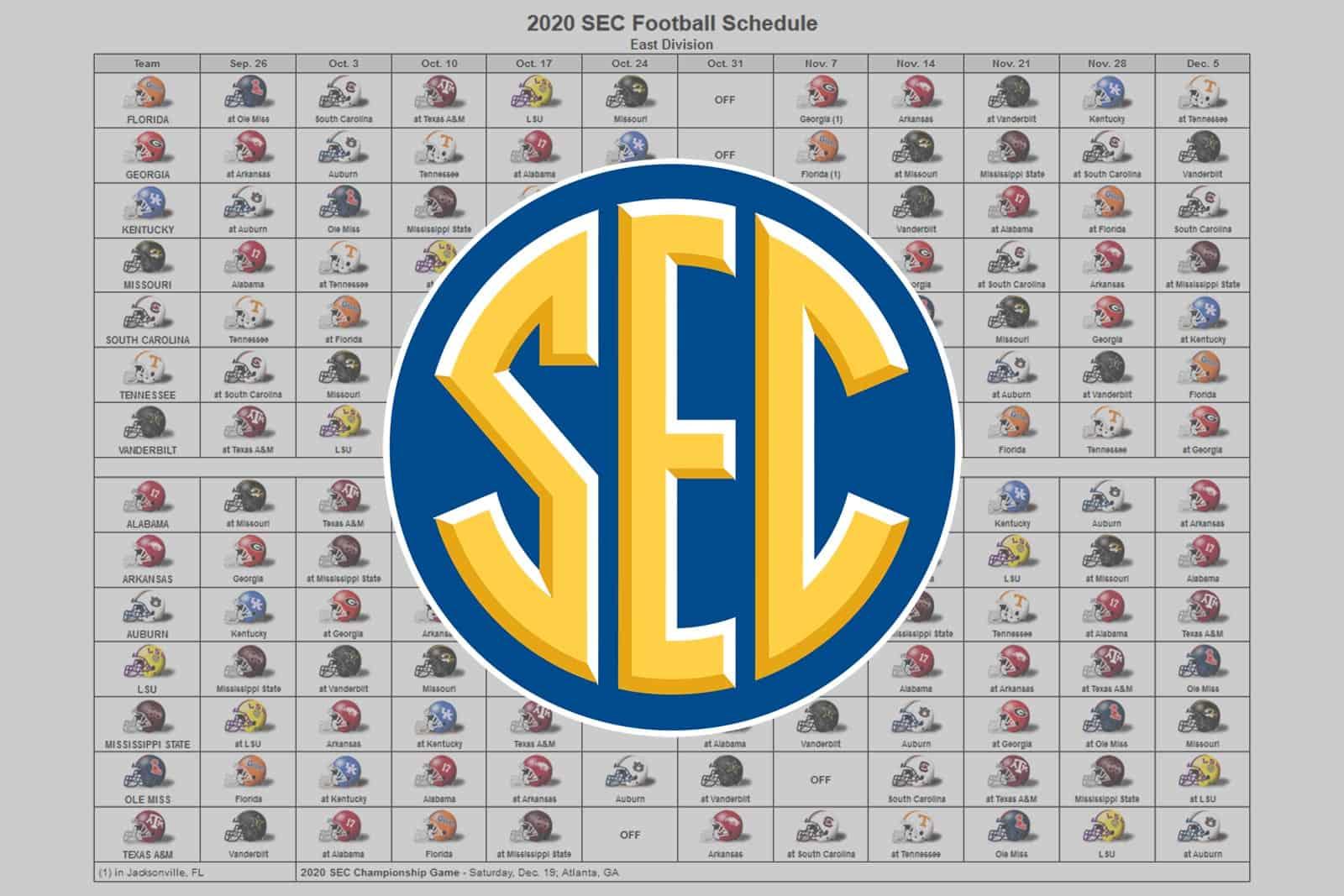 2020 Sec Football Helmet Schedule inside 2020 Nfl Schedule Printable