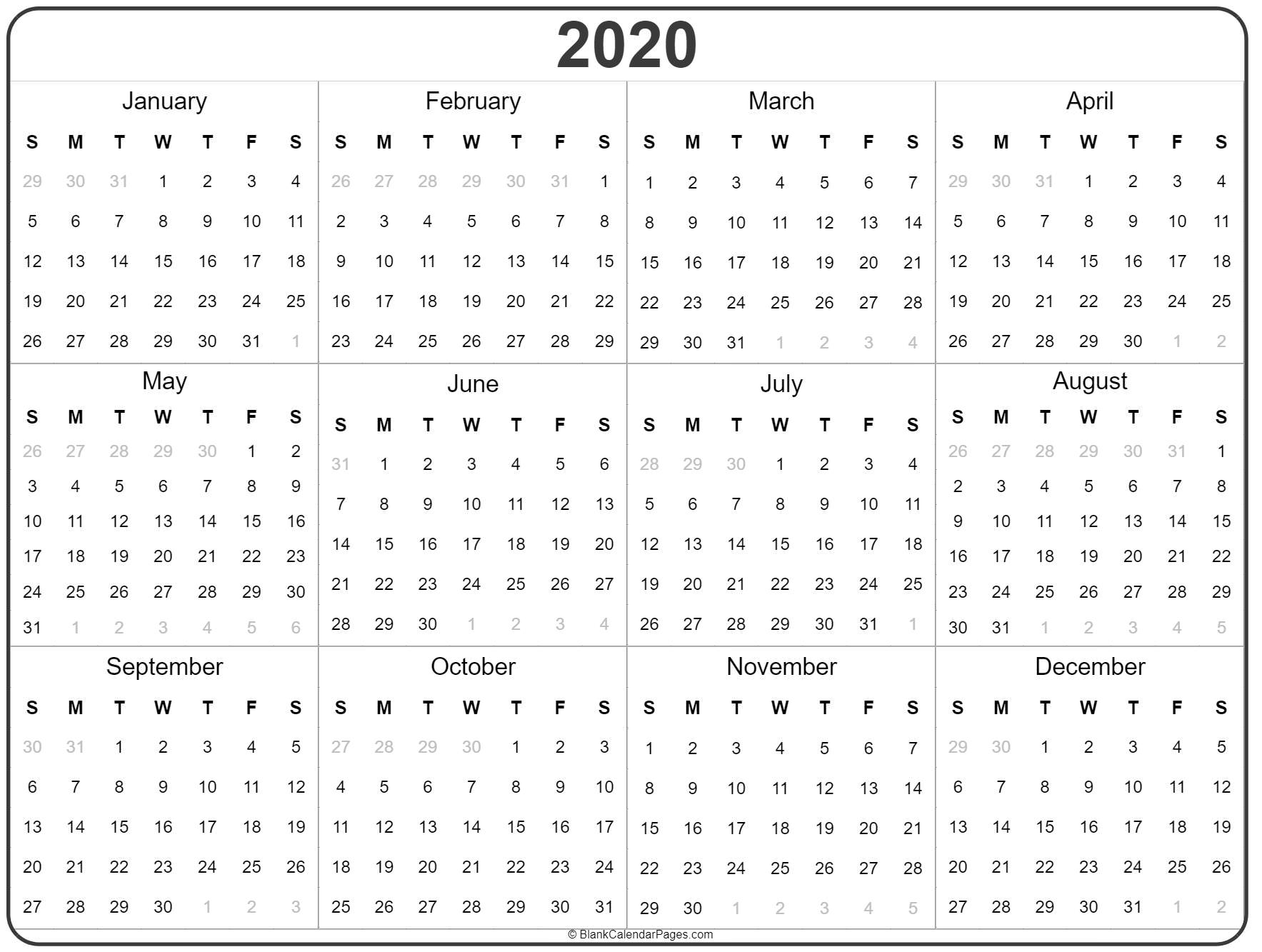 2020 Year Calendar | Yearly Printable pertaining to Printable Yearly Calendar With Boxes