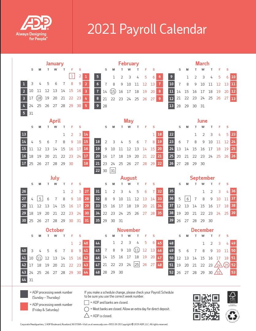 2021 Payroll Calendar Adp – Pay Period Calendar 2020 regarding 2021 Payday Working Days Calendar