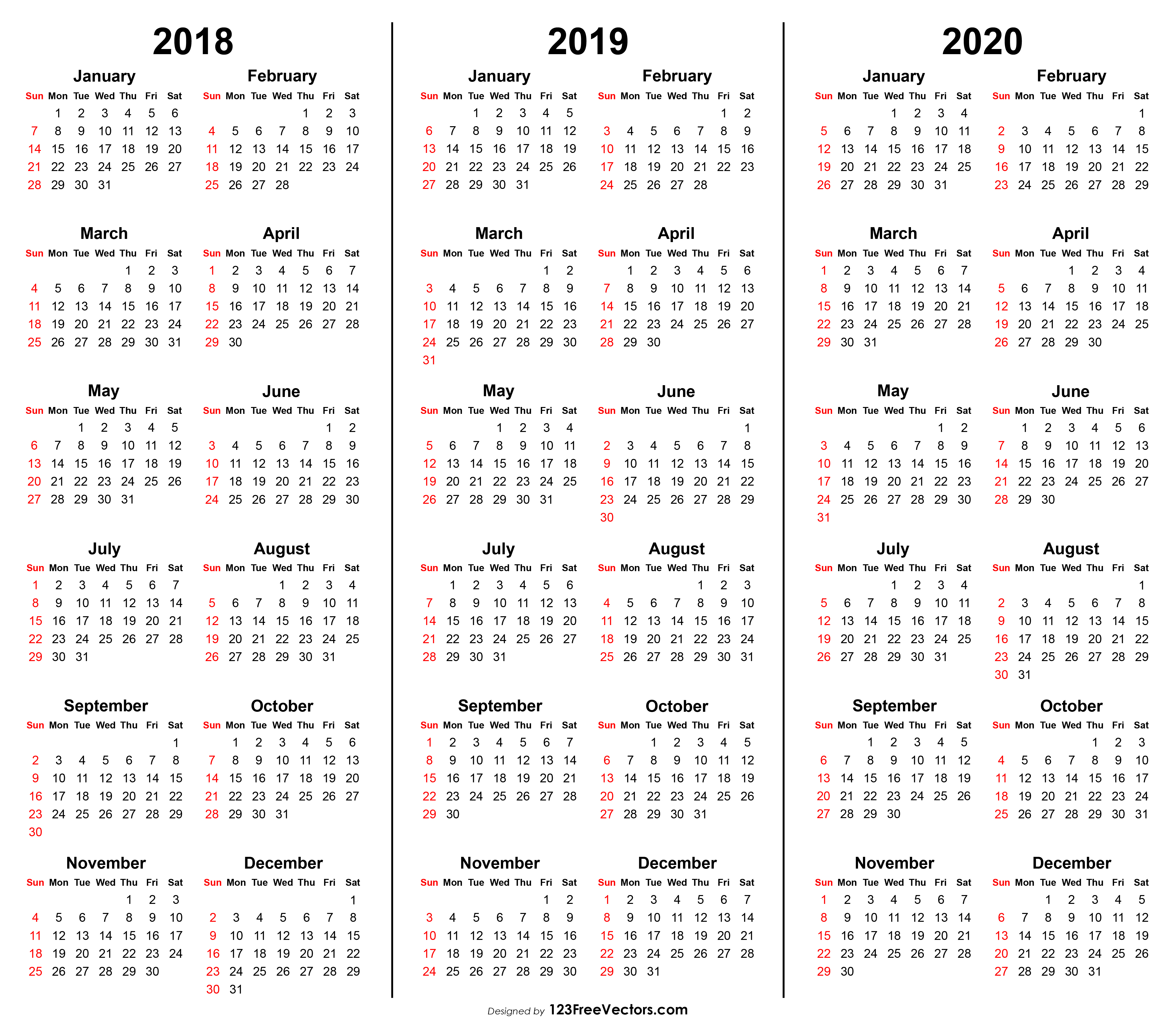 3 Year Calendar 2018 2019 2020 Printable in 3 Year Calendar 2020
