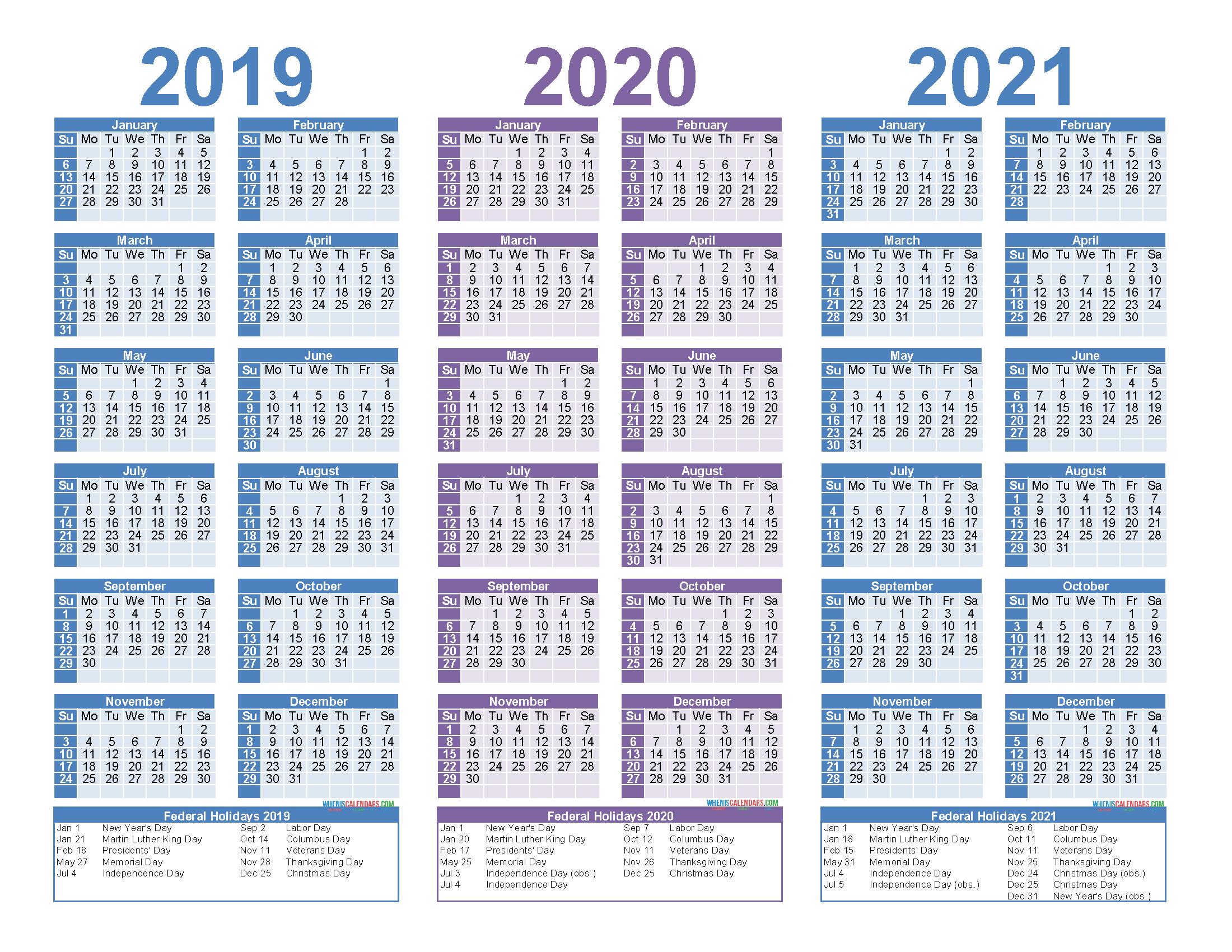 3 Year Calendar 2020 To 2021 Excel | Calendar For Planning for 3 Year Calendar 2020
